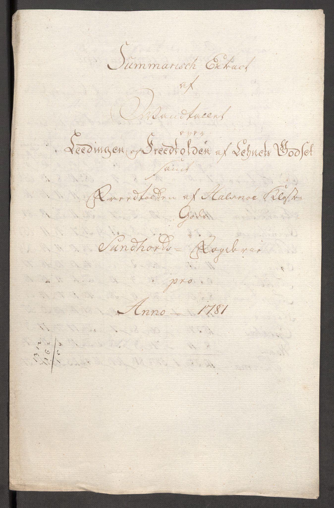 RA, Rentekammeret inntil 1814, Reviderte regnskaper, Fogderegnskap, R48/L3097: Fogderegnskap Sunnhordland og Hardanger, 1781, s. 119