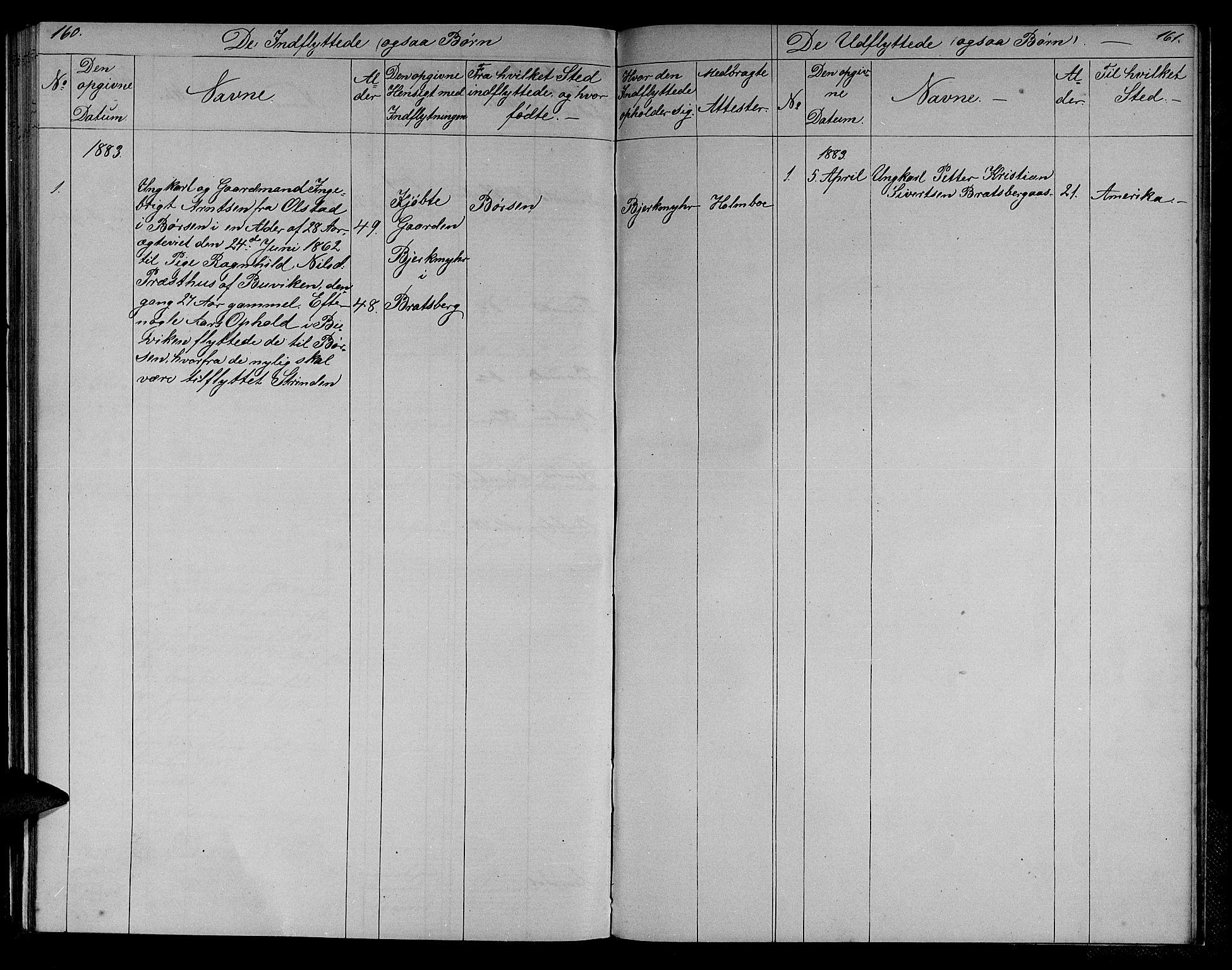 SAT, Ministerialprotokoller, klokkerbøker og fødselsregistre - Sør-Trøndelag, 608/L0340: Klokkerbok nr. 608C06, 1864-1889, s. 160-161
