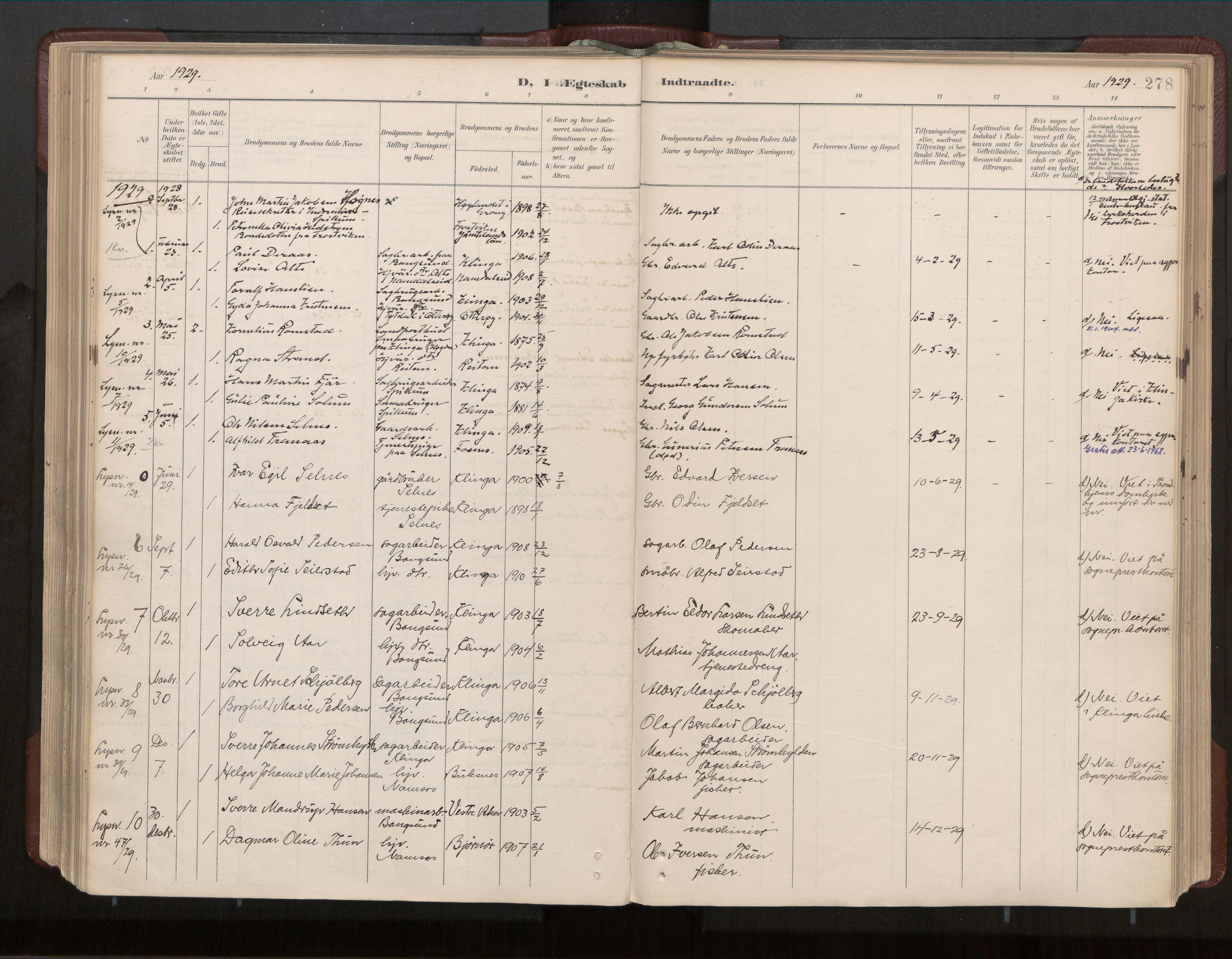 SAT, Ministerialprotokoller, klokkerbøker og fødselsregistre - Nord-Trøndelag, 770/L0589: Ministerialbok nr. 770A03, 1887-1929, s. 278