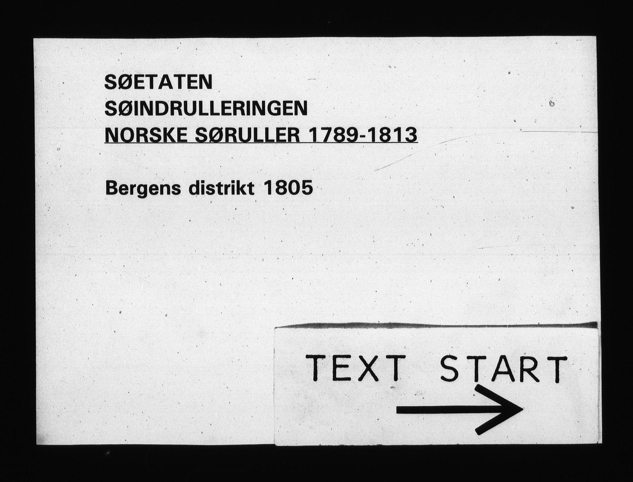 RA, Sjøetaten, F/L0244: Bergen distrikt, bind 1, 1805