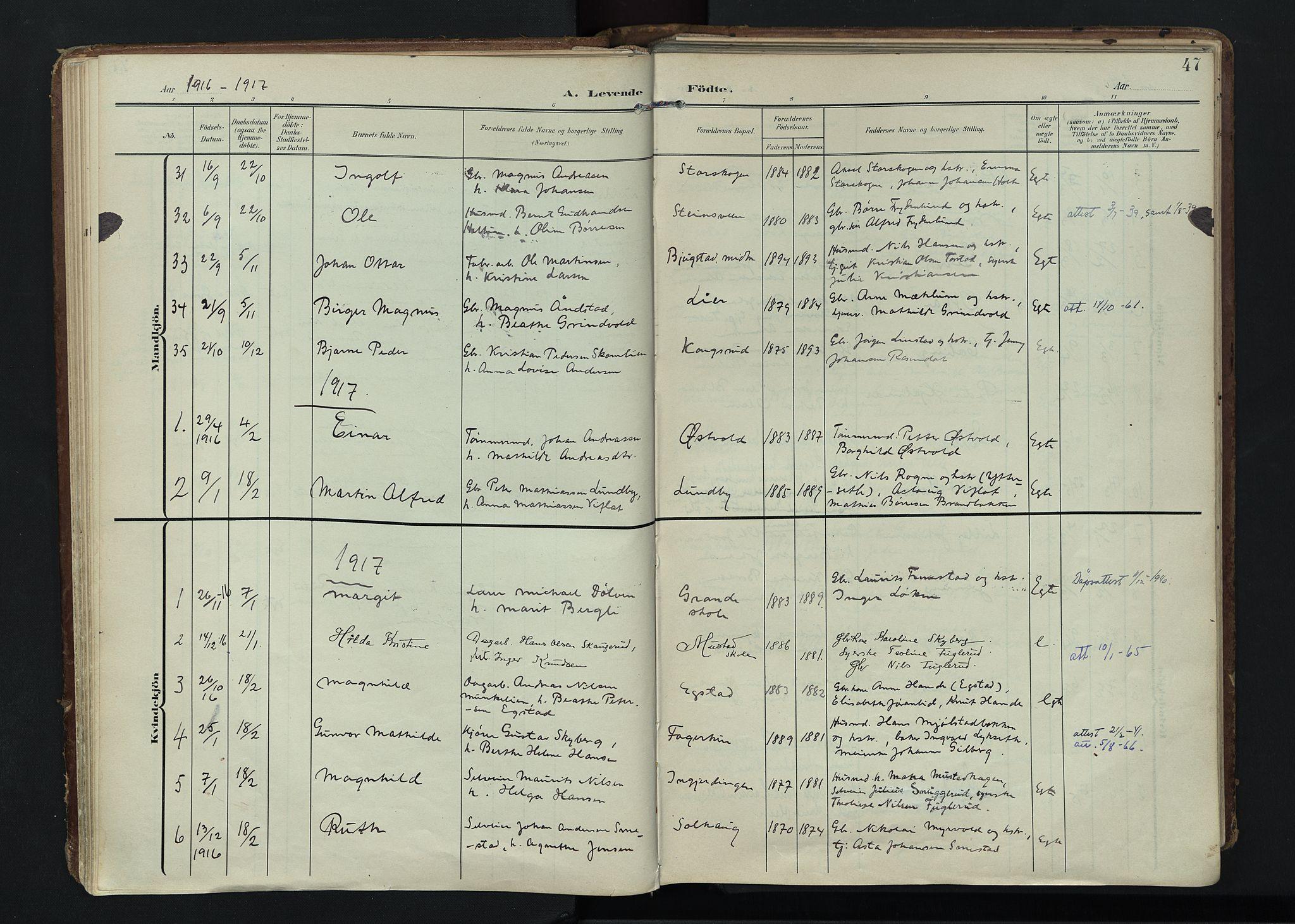 SAH, Vardal prestekontor, H/Ha/Haa/L0020: Ministerialbok nr. 20, 1907-1921, s. 47