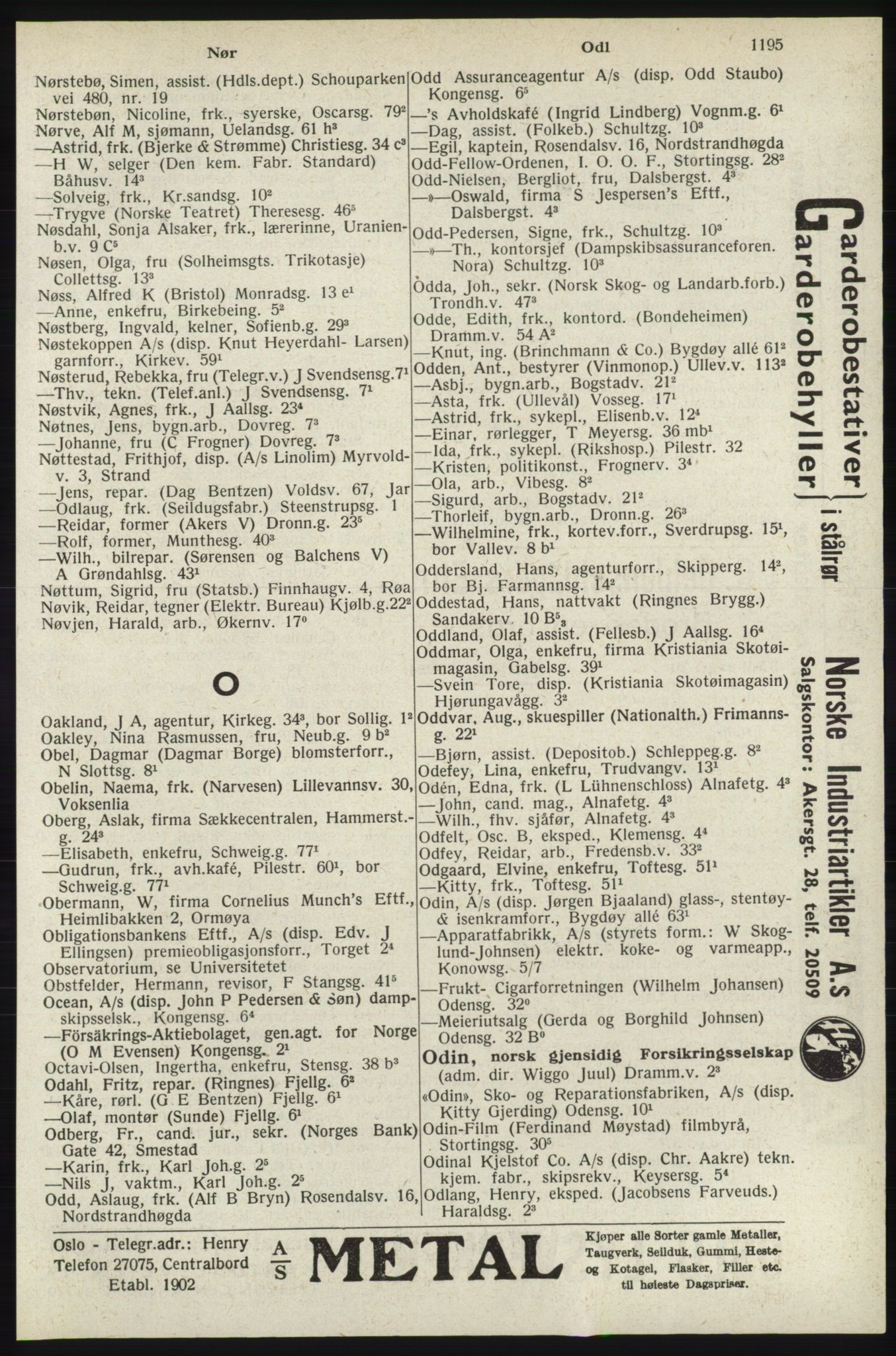 RA, Oslo adressebok (publikasjon)*, 1940, s. 1195