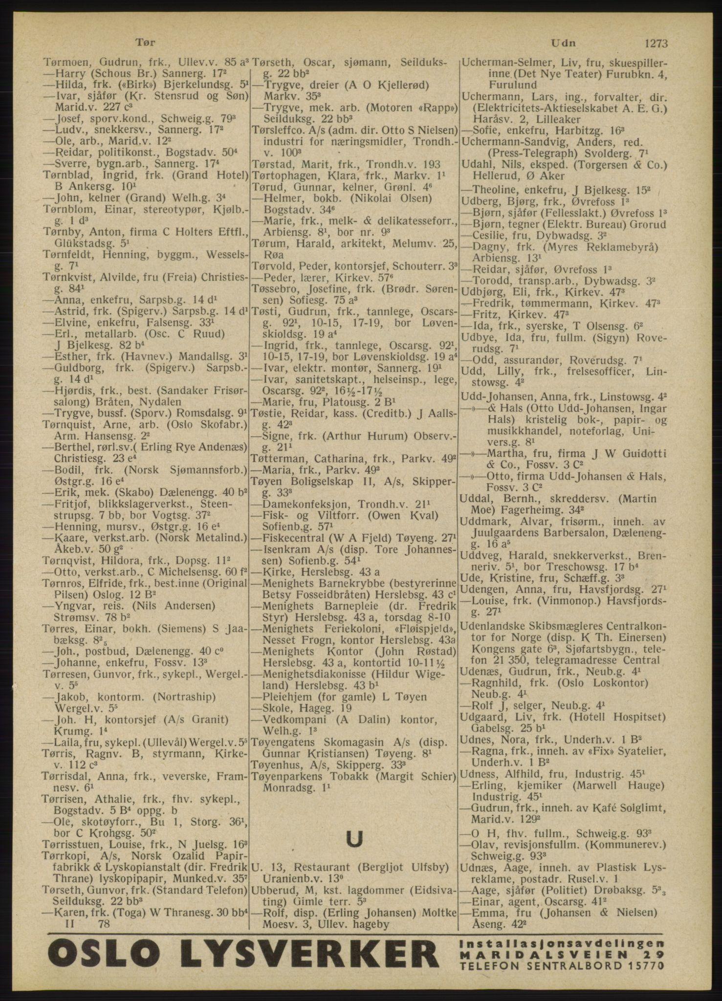 RA, Oslo adressebok (publikasjon)*, 1946, s. 1273