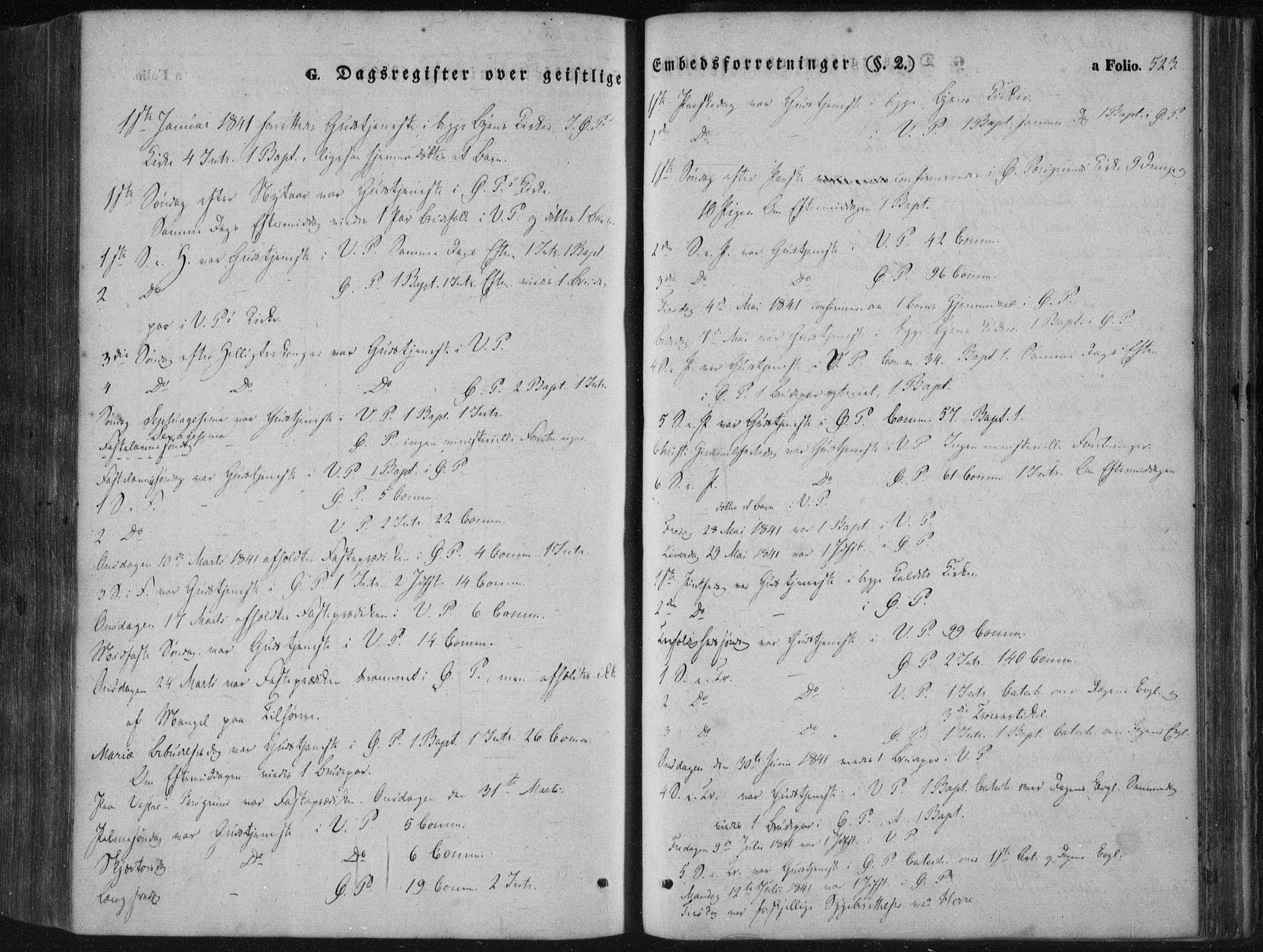 SAKO, Porsgrunn kirkebøker , F/Fa/L0006: Ministerialbok nr. 6, 1841-1857, s. 523