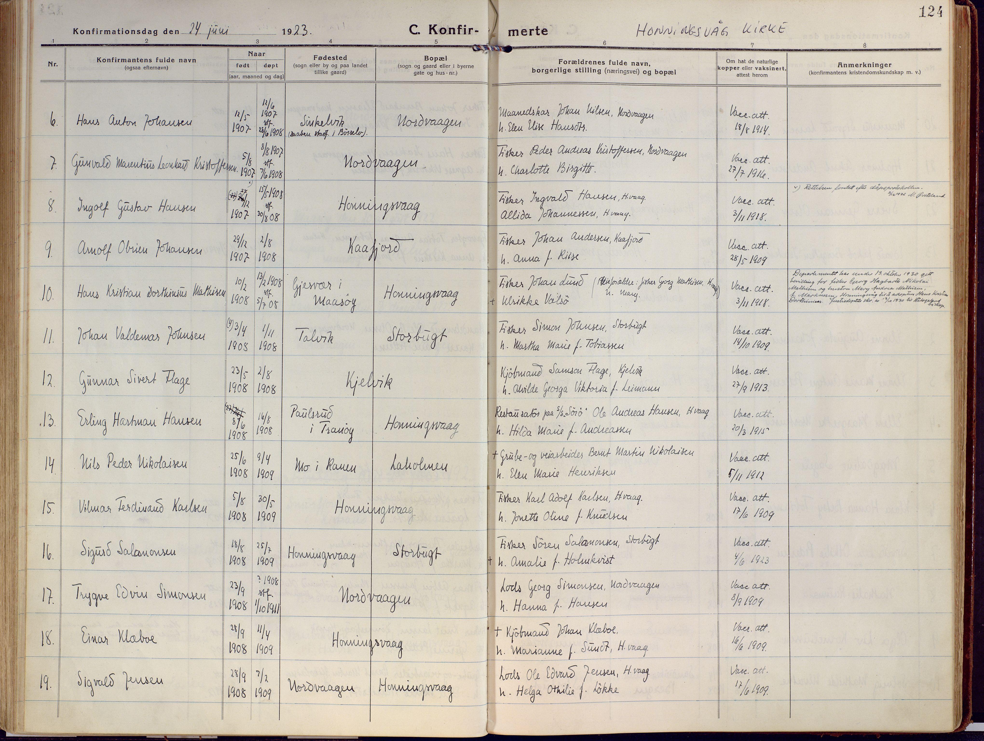 SATØ, Kjelvik/Nordkapp sokneprestkontor, H/Ha/L0002kirke: Ministerialbok nr. 2, 1920-1929, s. 124