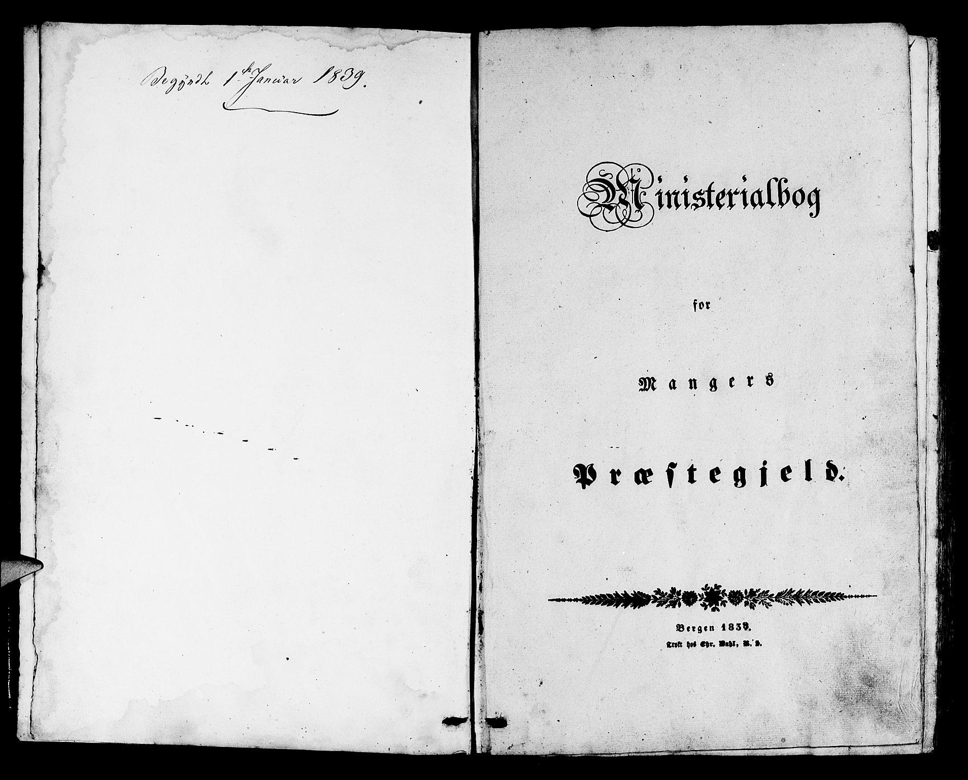 SAB, Manger sokneprestembete, H/Haa: Ministerialbok nr. A 5, 1839-1848