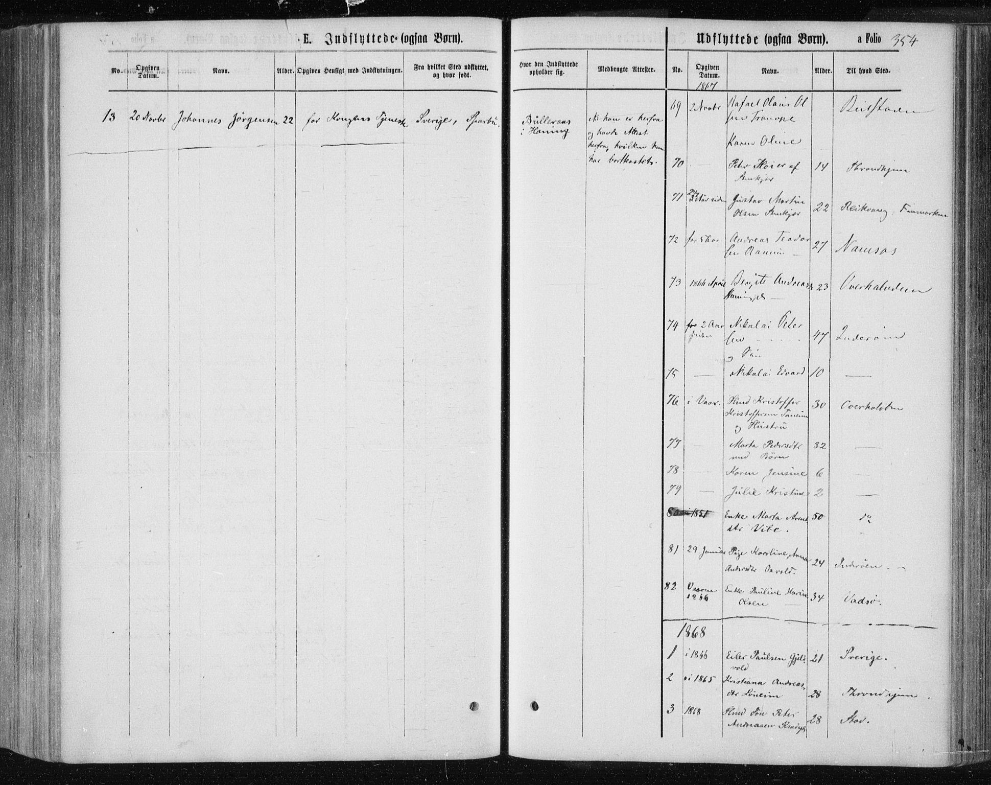 SAT, Ministerialprotokoller, klokkerbøker og fødselsregistre - Nord-Trøndelag, 735/L0345: Ministerialbok nr. 735A08 /1, 1863-1872, s. 354