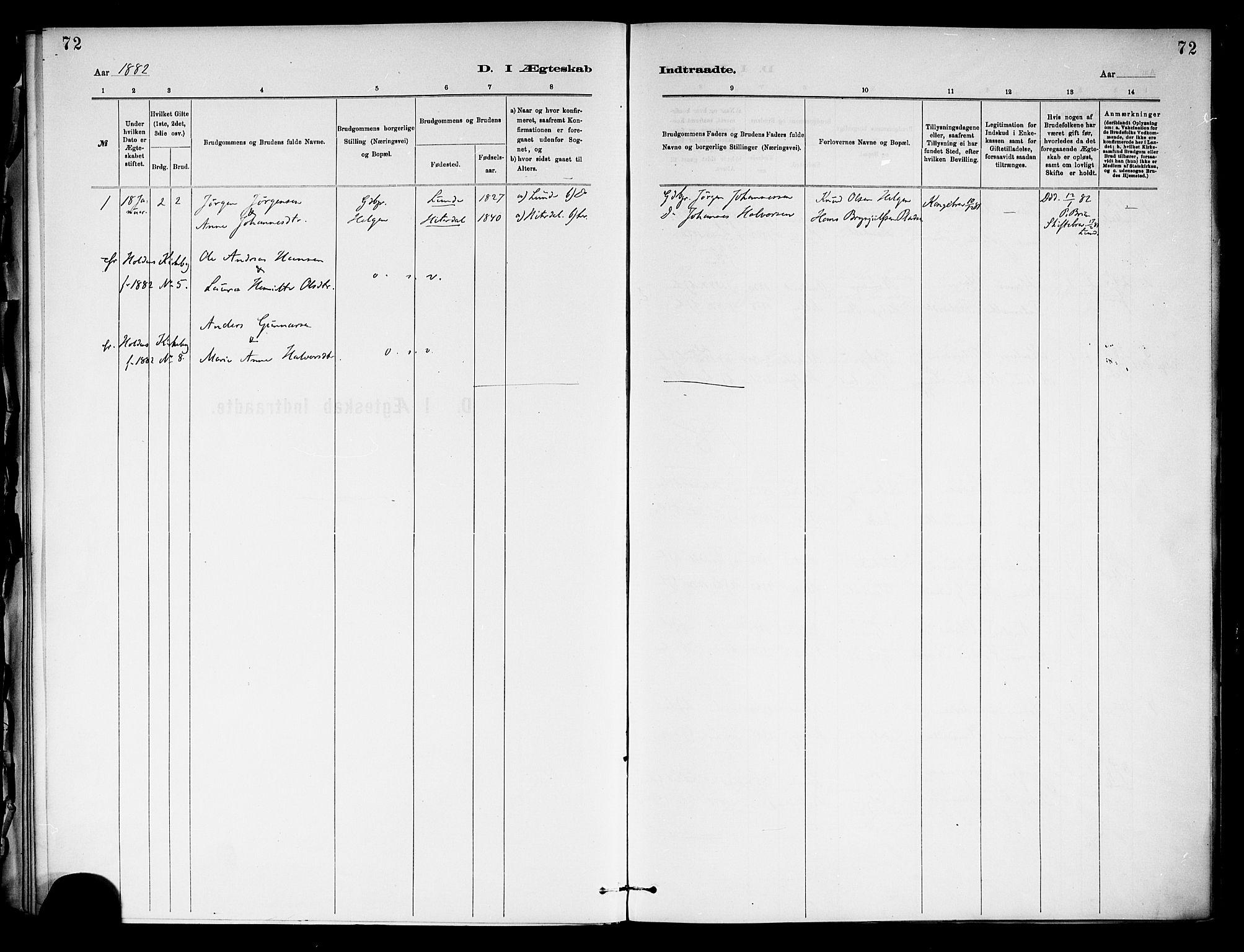 SAKO, Holla kirkebøker, F/Fa/L0009: Ministerialbok nr. 9, 1881-1897, s. 72