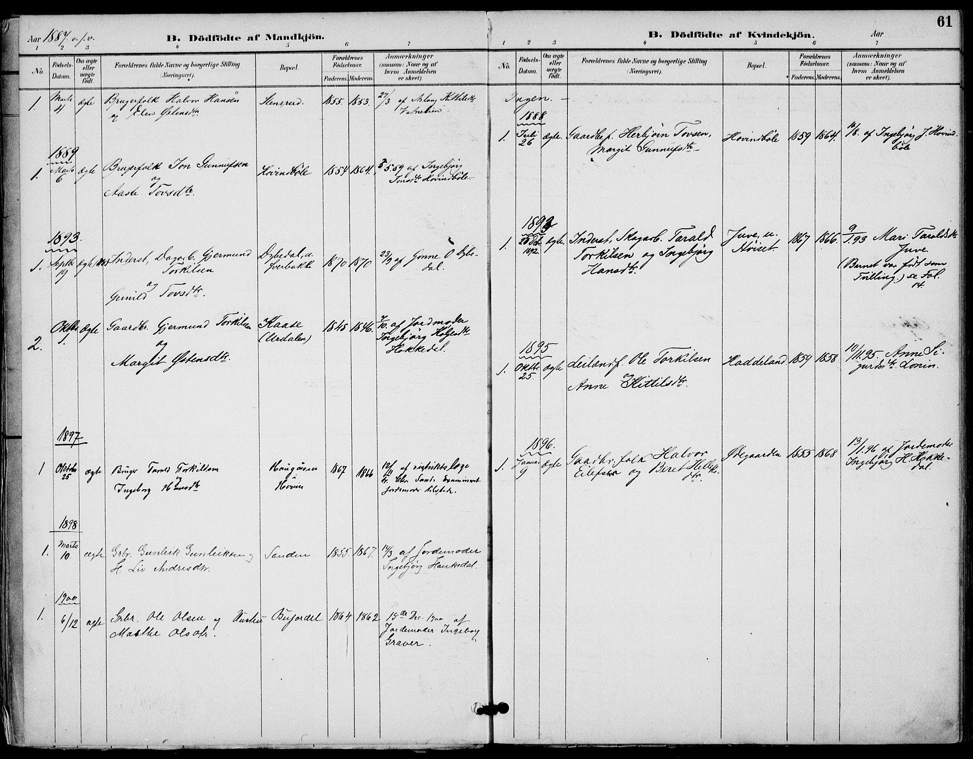 SAKO, Gransherad kirkebøker, F/Fb/L0005: Ministerialbok nr. II 5, 1887-1916, s. 61