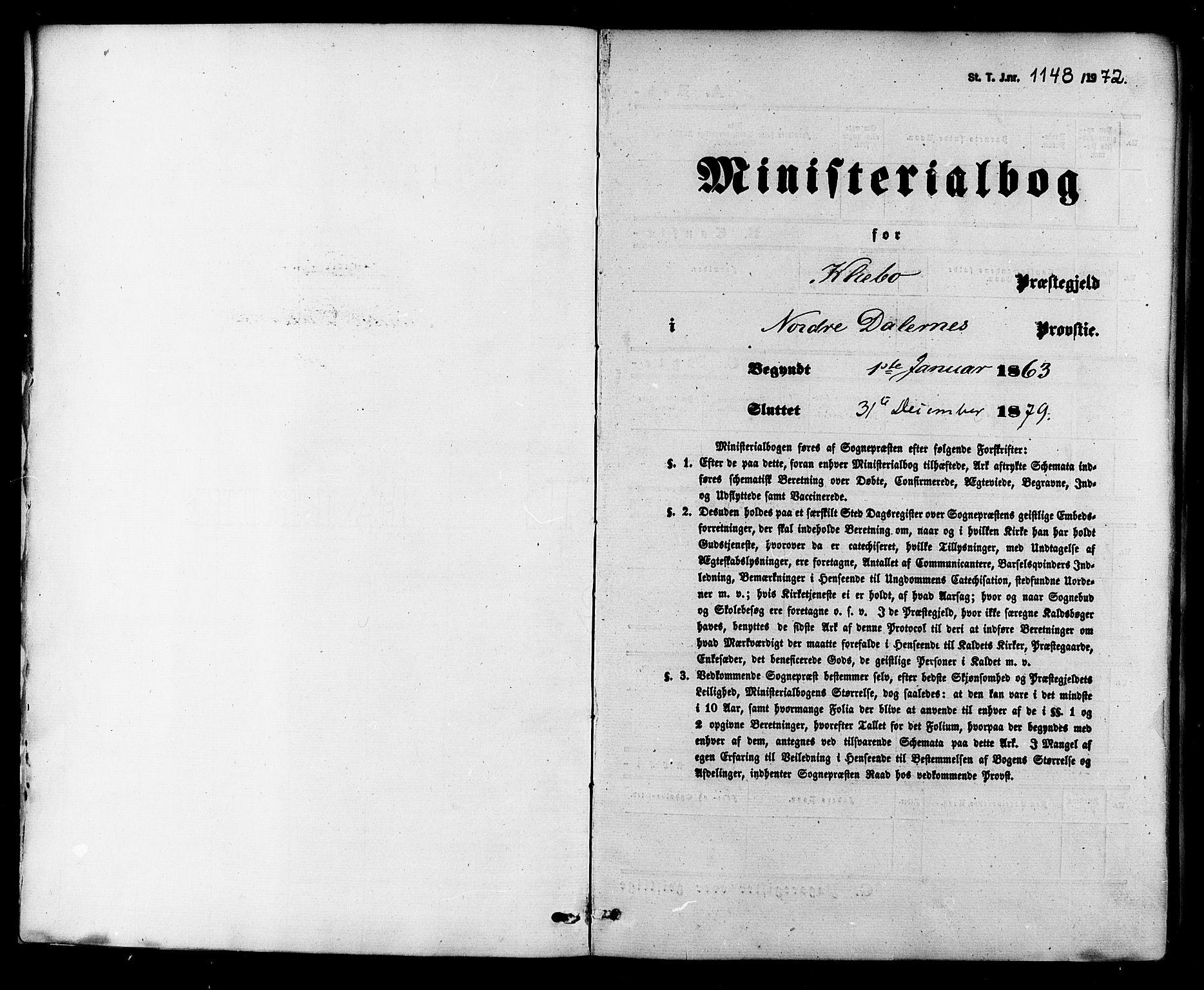 SAT, Ministerialprotokoller, klokkerbøker og fødselsregistre - Sør-Trøndelag, 618/L0442: Ministerialbok nr. 618A06 /1, 1863-1879