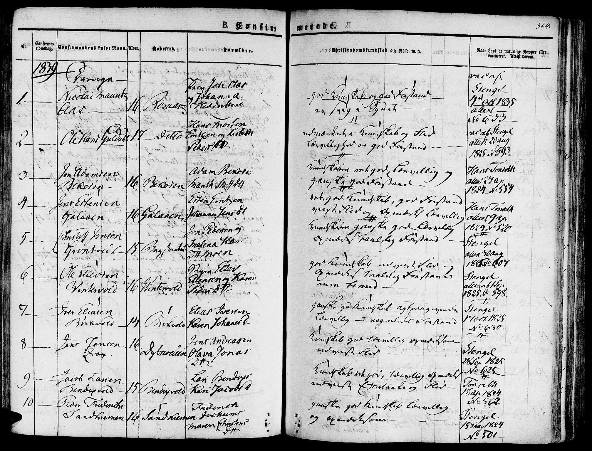 SAT, Ministerialprotokoller, klokkerbøker og fødselsregistre - Sør-Trøndelag, 681/L0930: Ministerialbok nr. 681A08, 1829-1844, s. 364