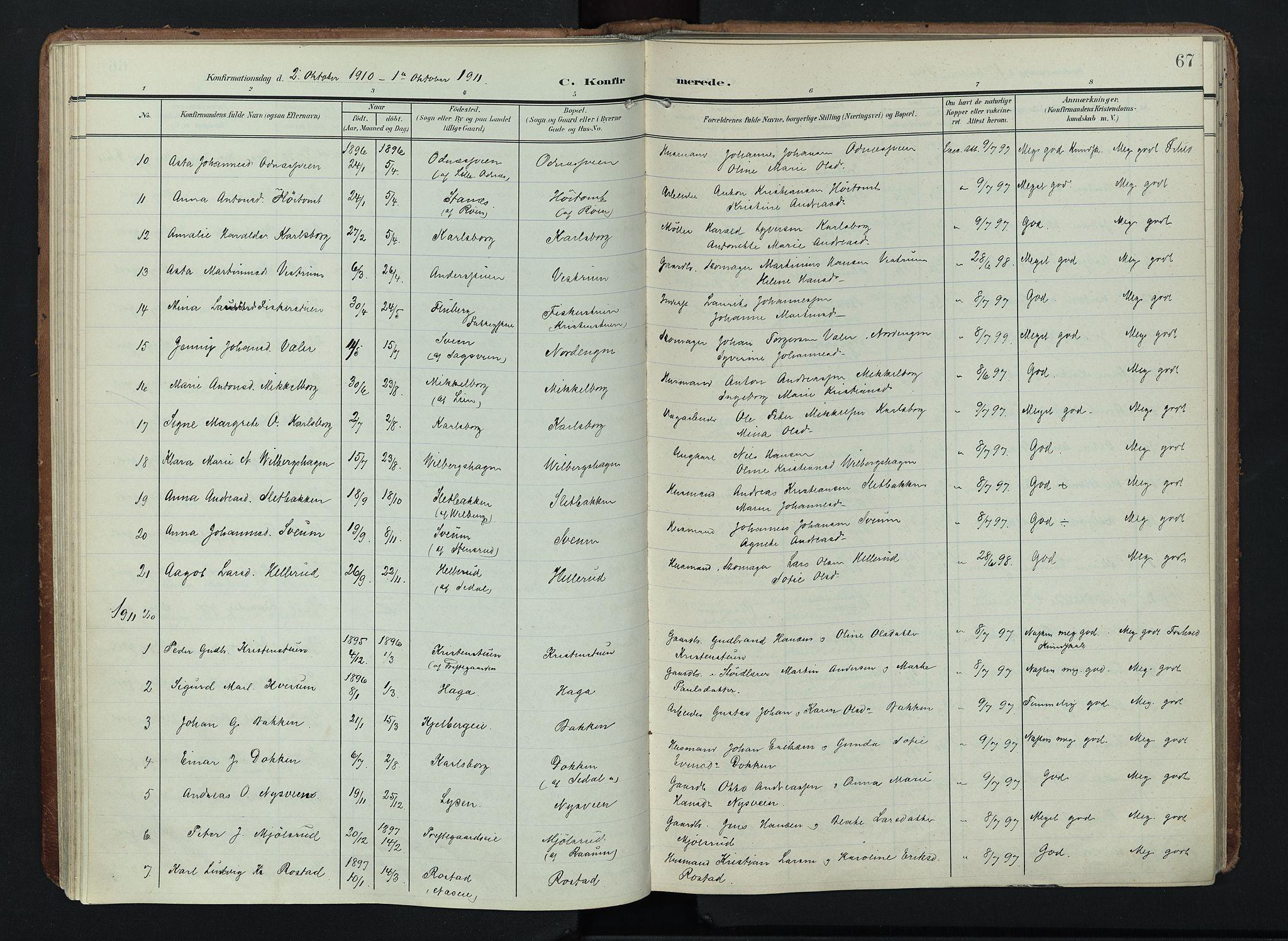 SAH, Søndre Land prestekontor, K/L0005: Ministerialbok nr. 5, 1905-1914, s. 67