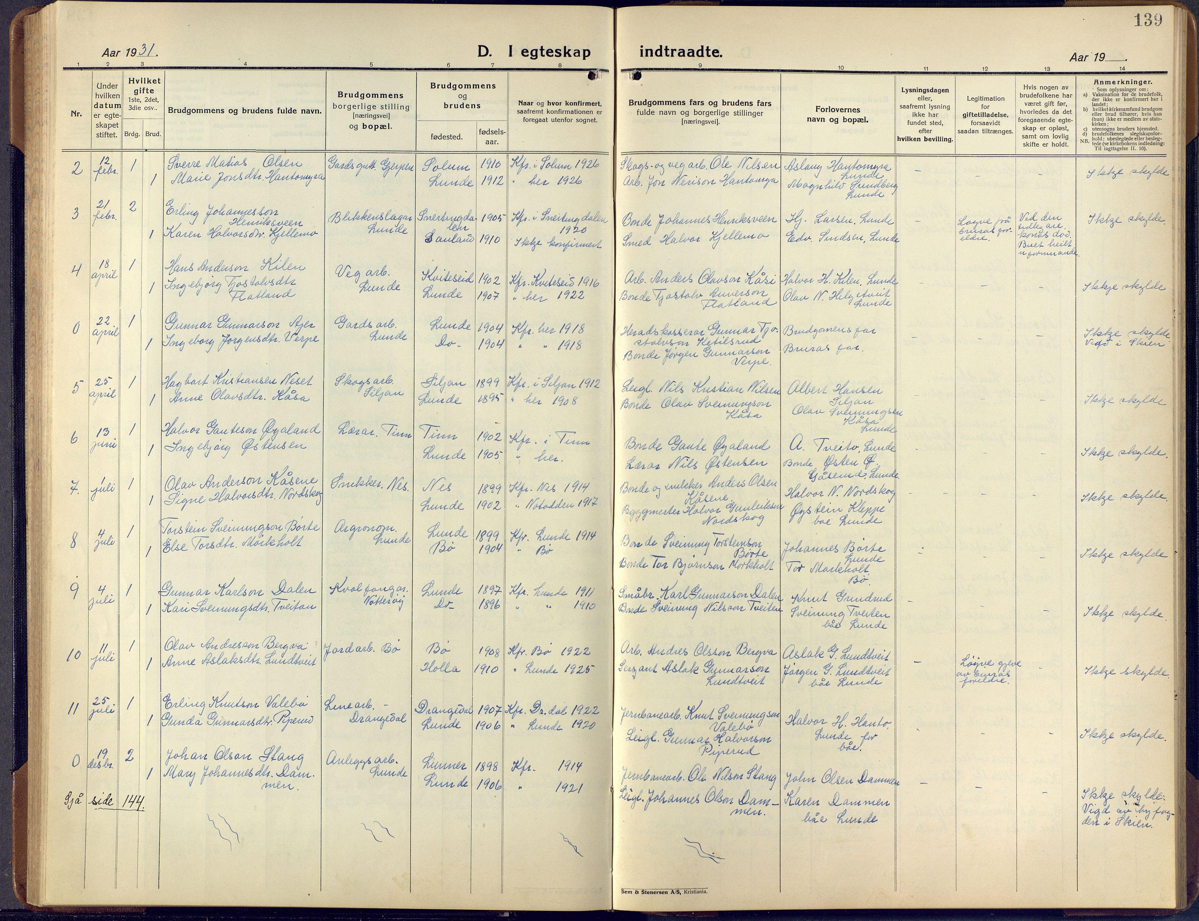 SAKO, Lunde kirkebøker, F/Fa/L0006: Ministerialbok nr. I 6, 1922-1940, s. 139