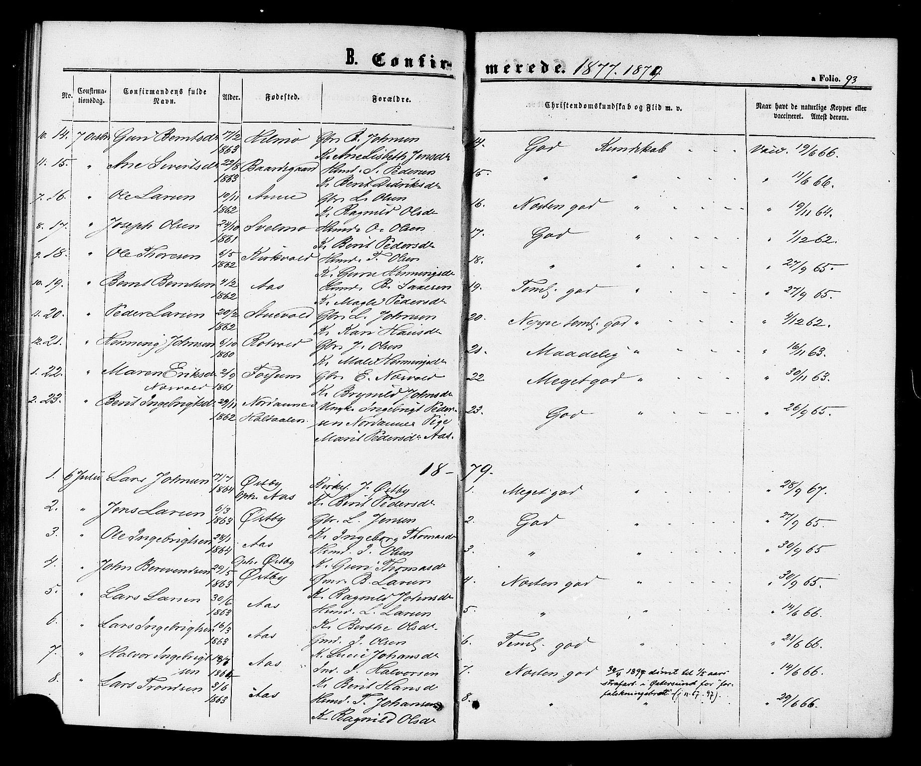 SAT, Ministerialprotokoller, klokkerbøker og fødselsregistre - Sør-Trøndelag, 698/L1163: Ministerialbok nr. 698A01, 1862-1887, s. 93