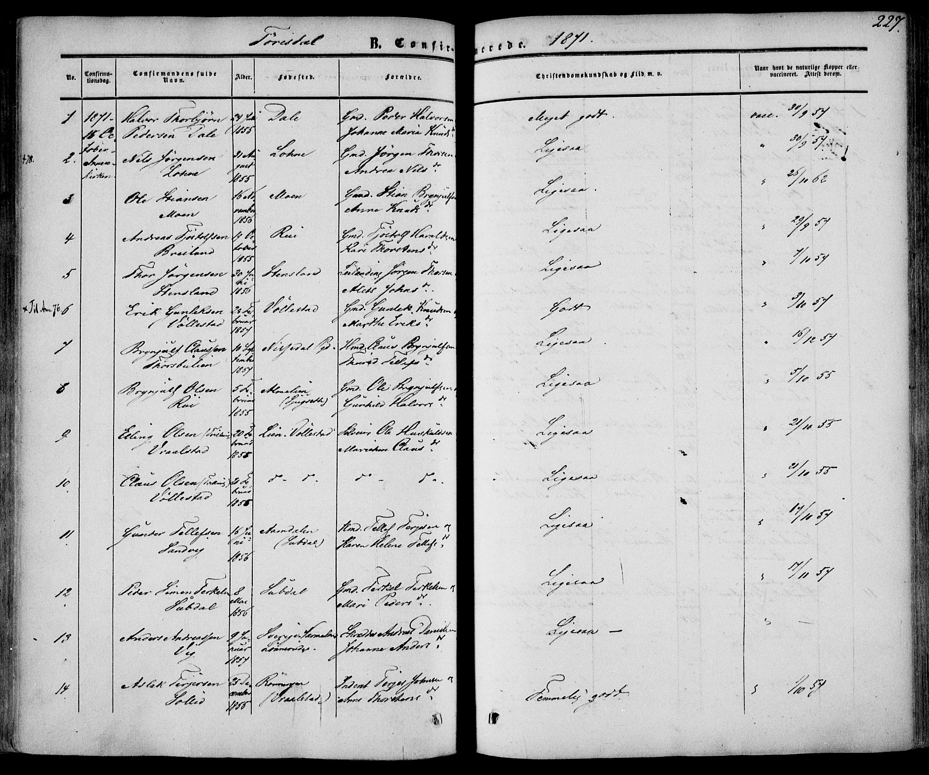 SAKO, Drangedal kirkebøker, F/Fa/L0008: Ministerialbok nr. 8, 1857-1871, s. 227