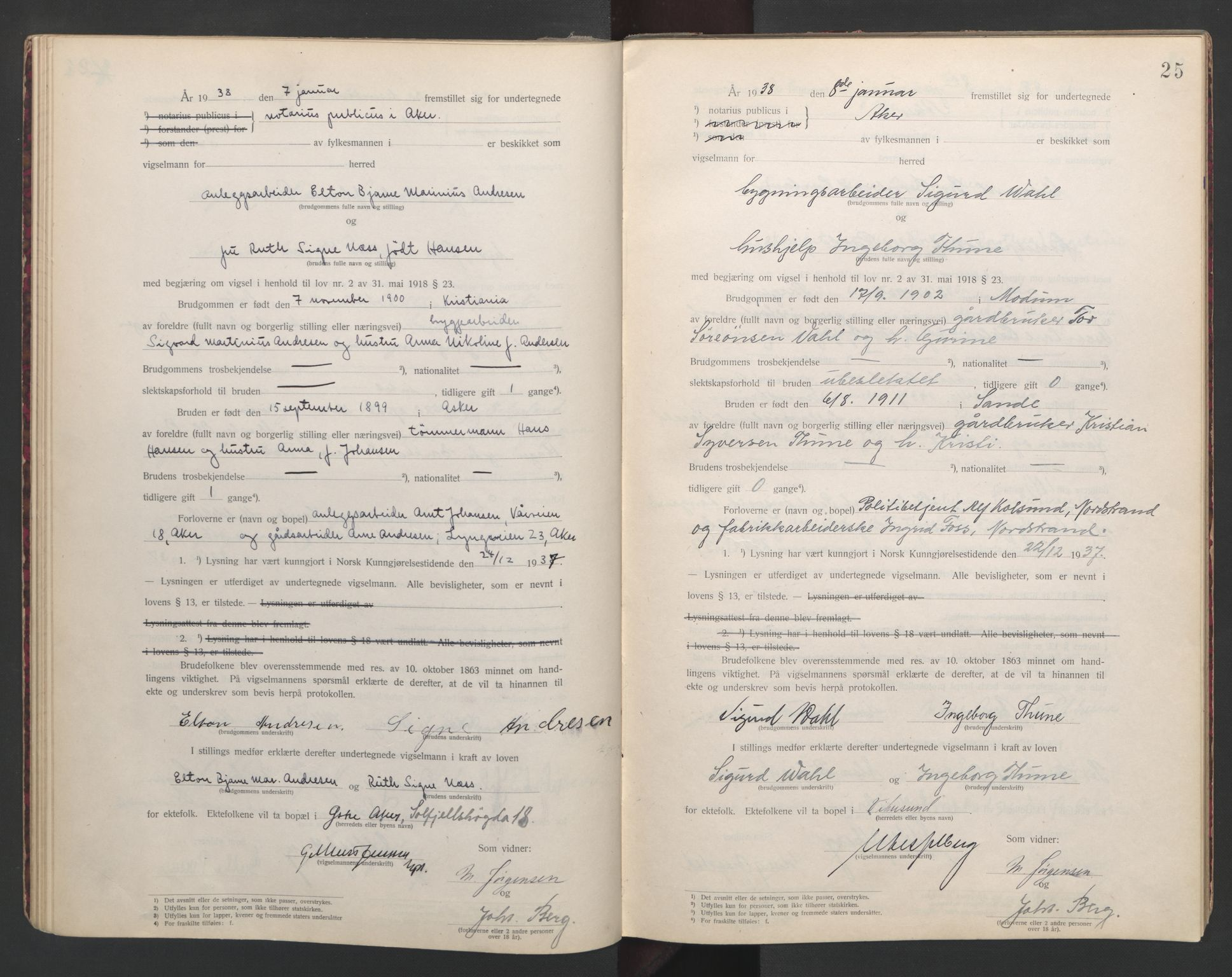 SAO, Aker sorenskriveri, L/Lc/Lcb/L0010: Vigselprotokoll, 1937-1938, s. 25