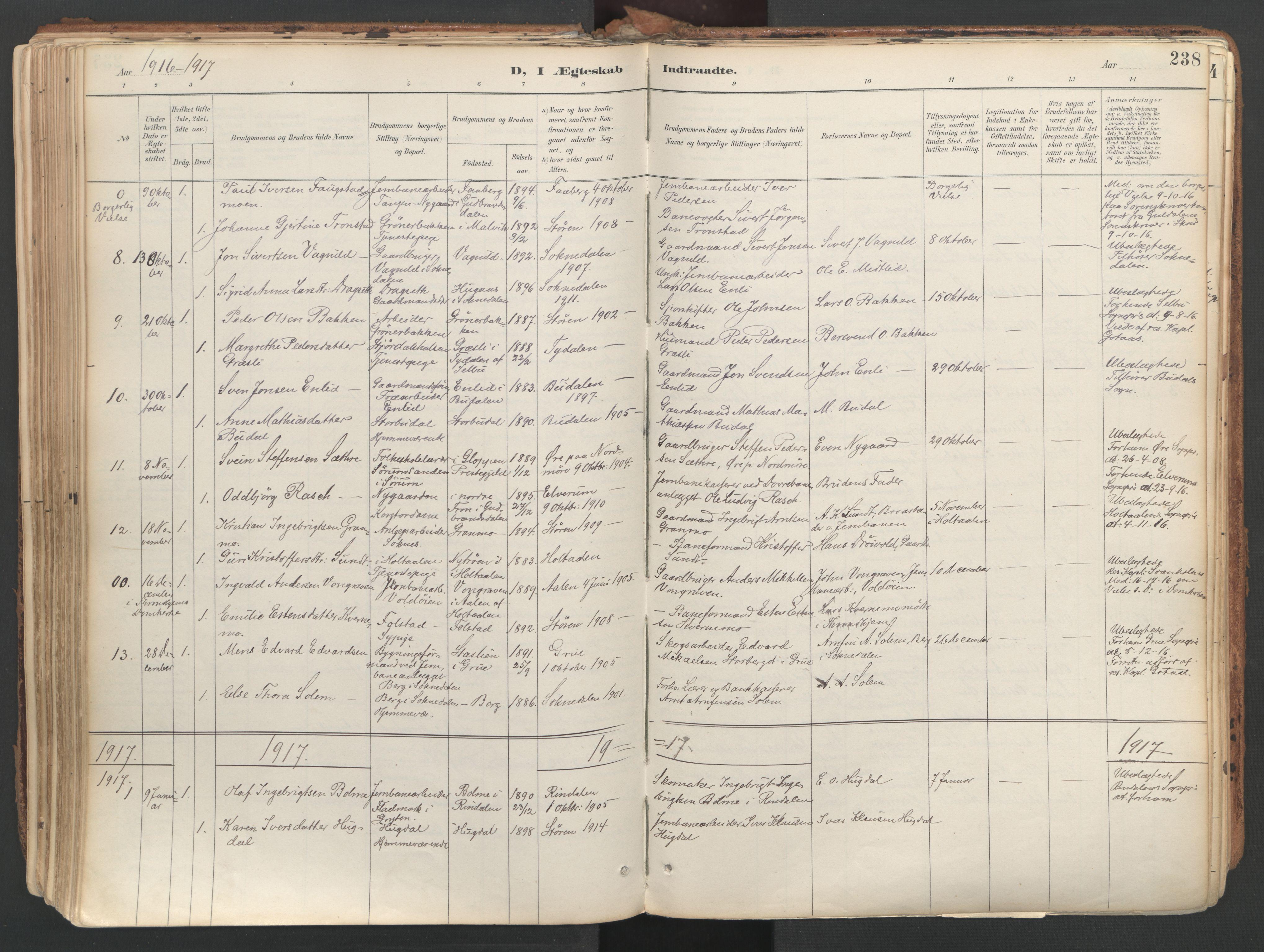 SAT, Ministerialprotokoller, klokkerbøker og fødselsregistre - Sør-Trøndelag, 687/L1004: Ministerialbok nr. 687A10, 1891-1923, s. 238