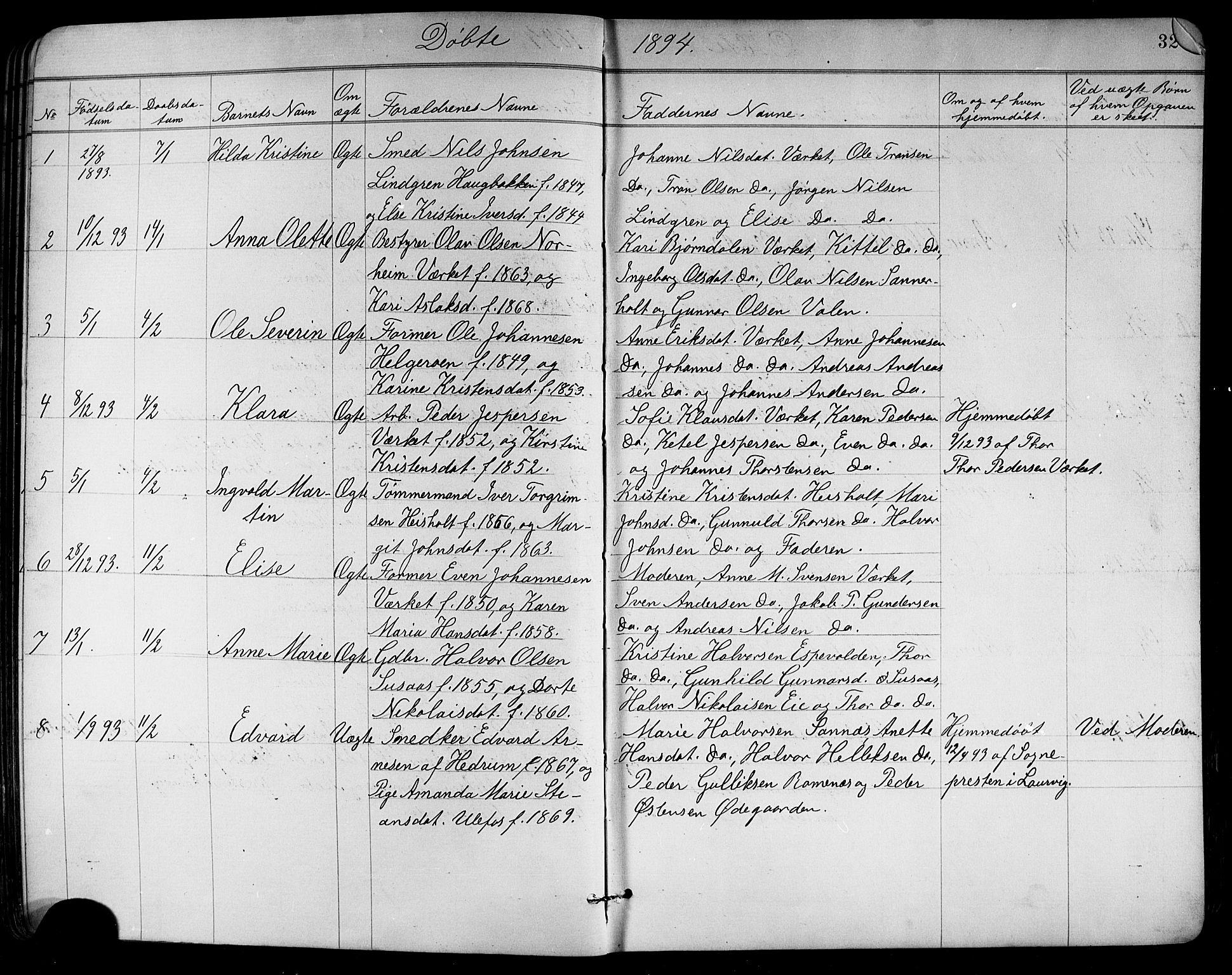 SAKO, Holla kirkebøker, G/Ga/L0005: Klokkerbok nr. I 5, 1891-1917, s. 32