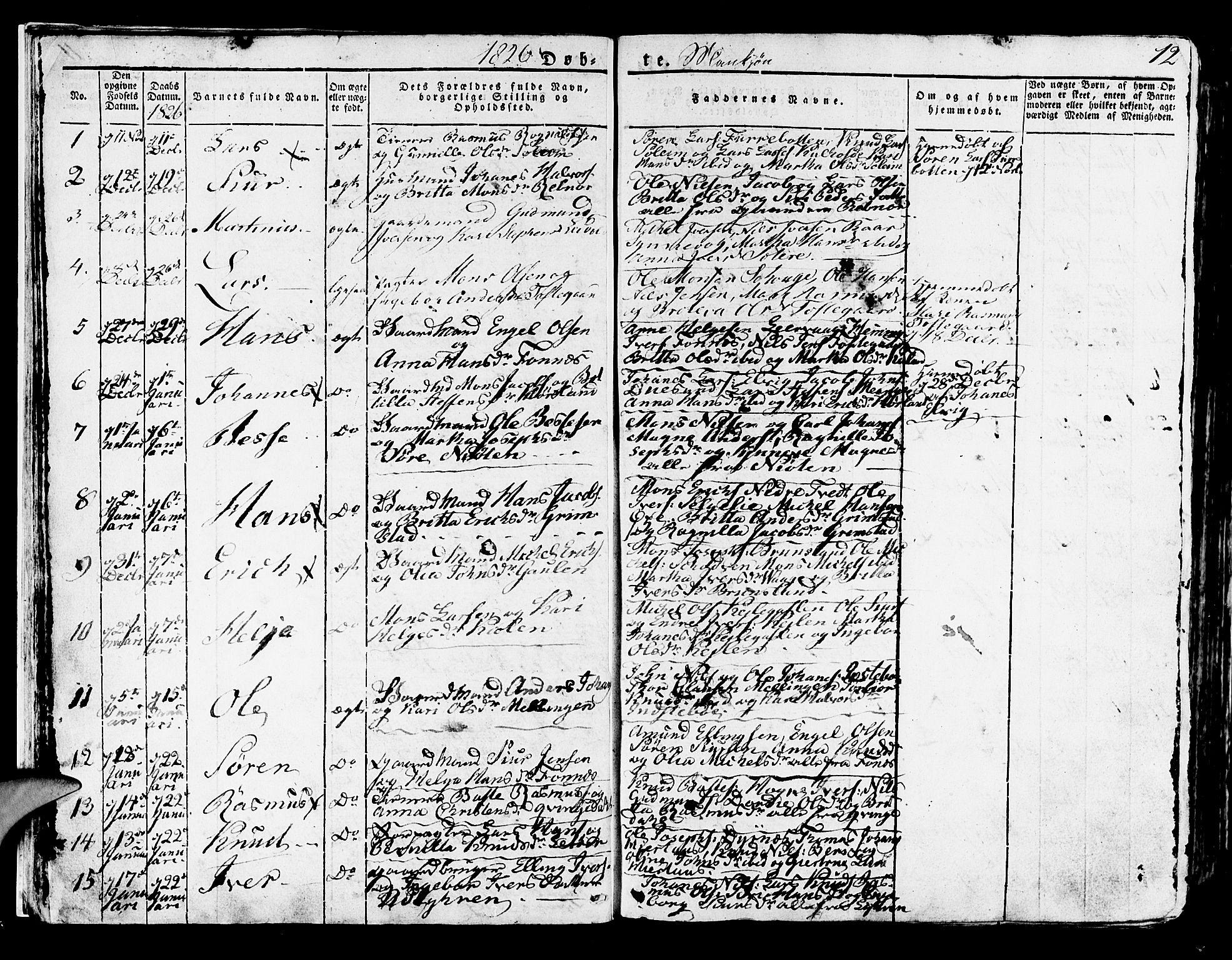 SAB, Lindås Sokneprestembete, H/Haa: Ministerialbok nr. A 8, 1823-1836, s. 12