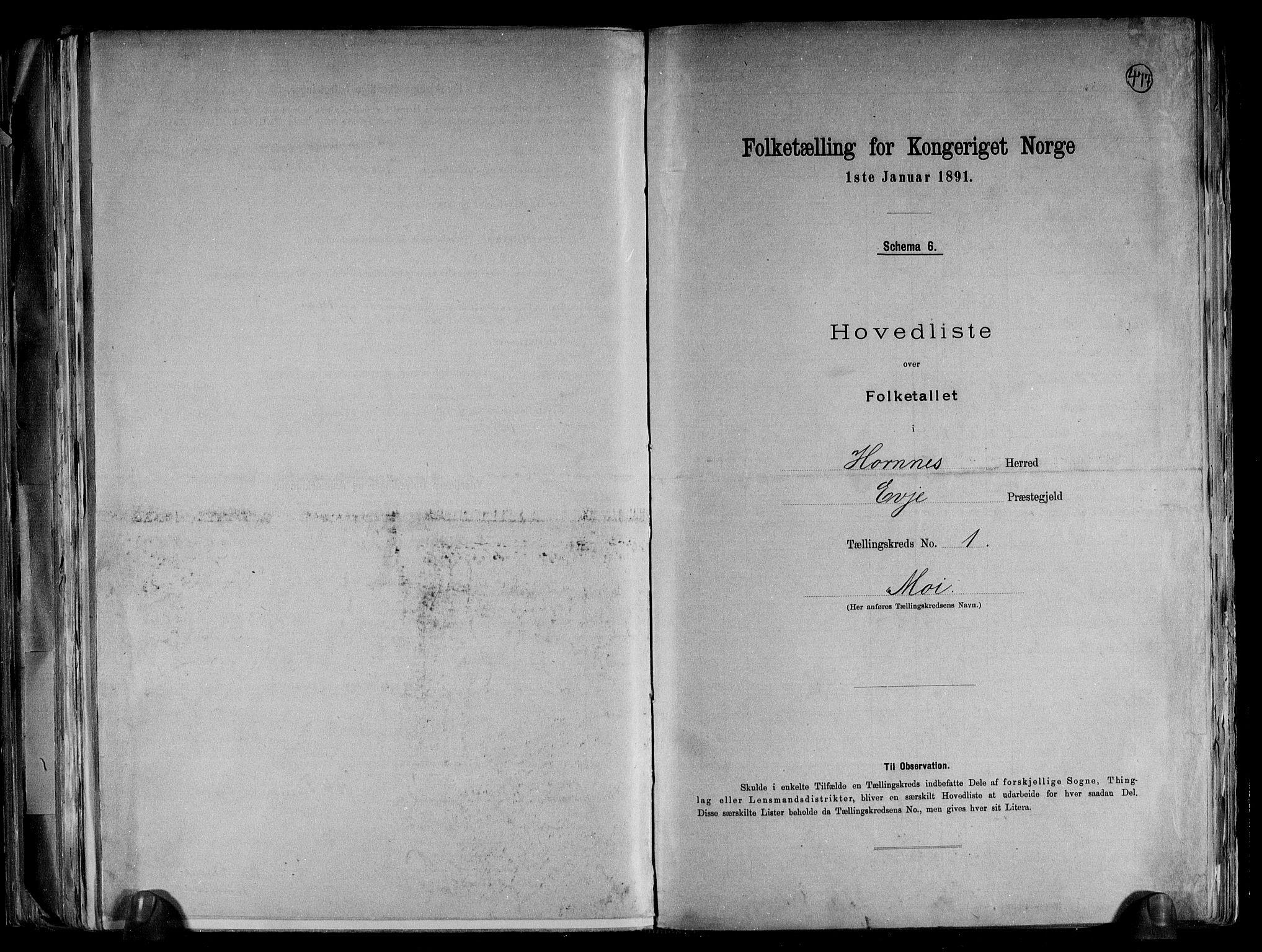 RA, Folketelling 1891 for 0936 Hornnes herred, 1891, s. 4