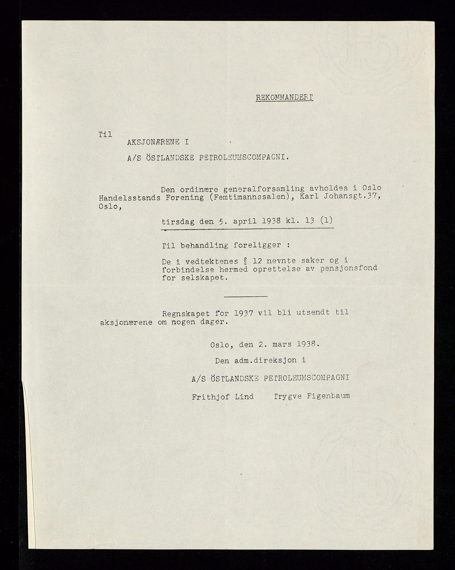 SAST, PA 1534 - Østlandske Petroleumscompagni A/S, A/Aa/L0002: Generalforsamlinger., 1938, s. 2