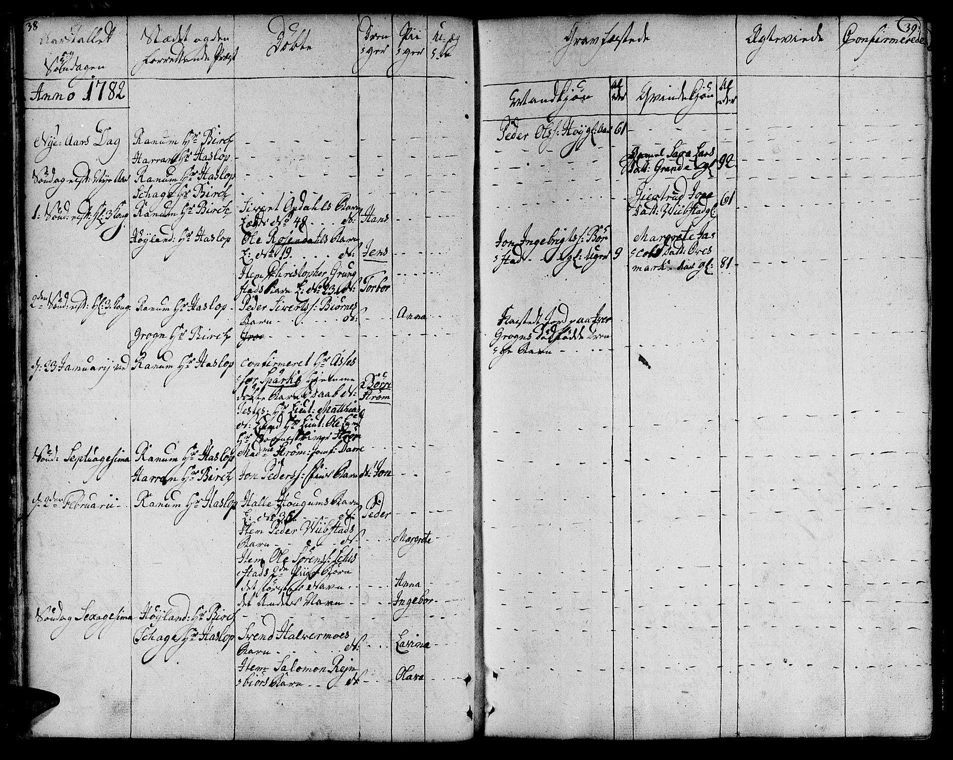 SAT, Ministerialprotokoller, klokkerbøker og fødselsregistre - Nord-Trøndelag, 764/L0544: Ministerialbok nr. 764A04, 1780-1798, s. 38-39