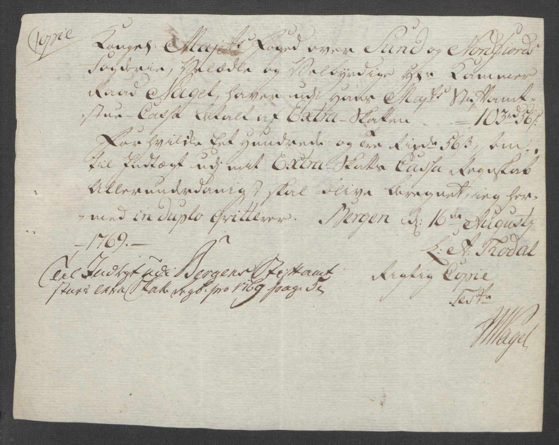 RA, Rentekammeret inntil 1814, Reviderte regnskaper, Fogderegnskap, R53/L3550: Ekstraskatten Sunn- og Nordfjord, 1762-1771, s. 266