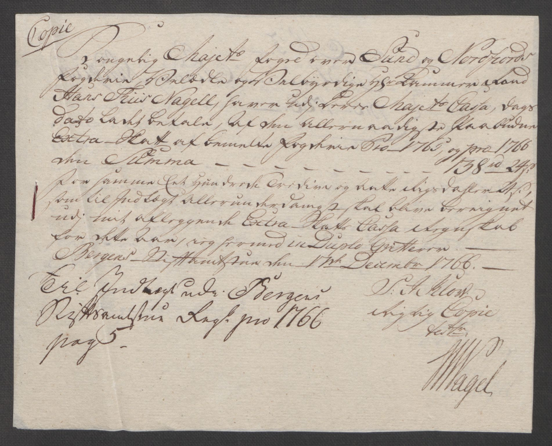 RA, Rentekammeret inntil 1814, Reviderte regnskaper, Fogderegnskap, R53/L3550: Ekstraskatten Sunn- og Nordfjord, 1762-1771, s. 174