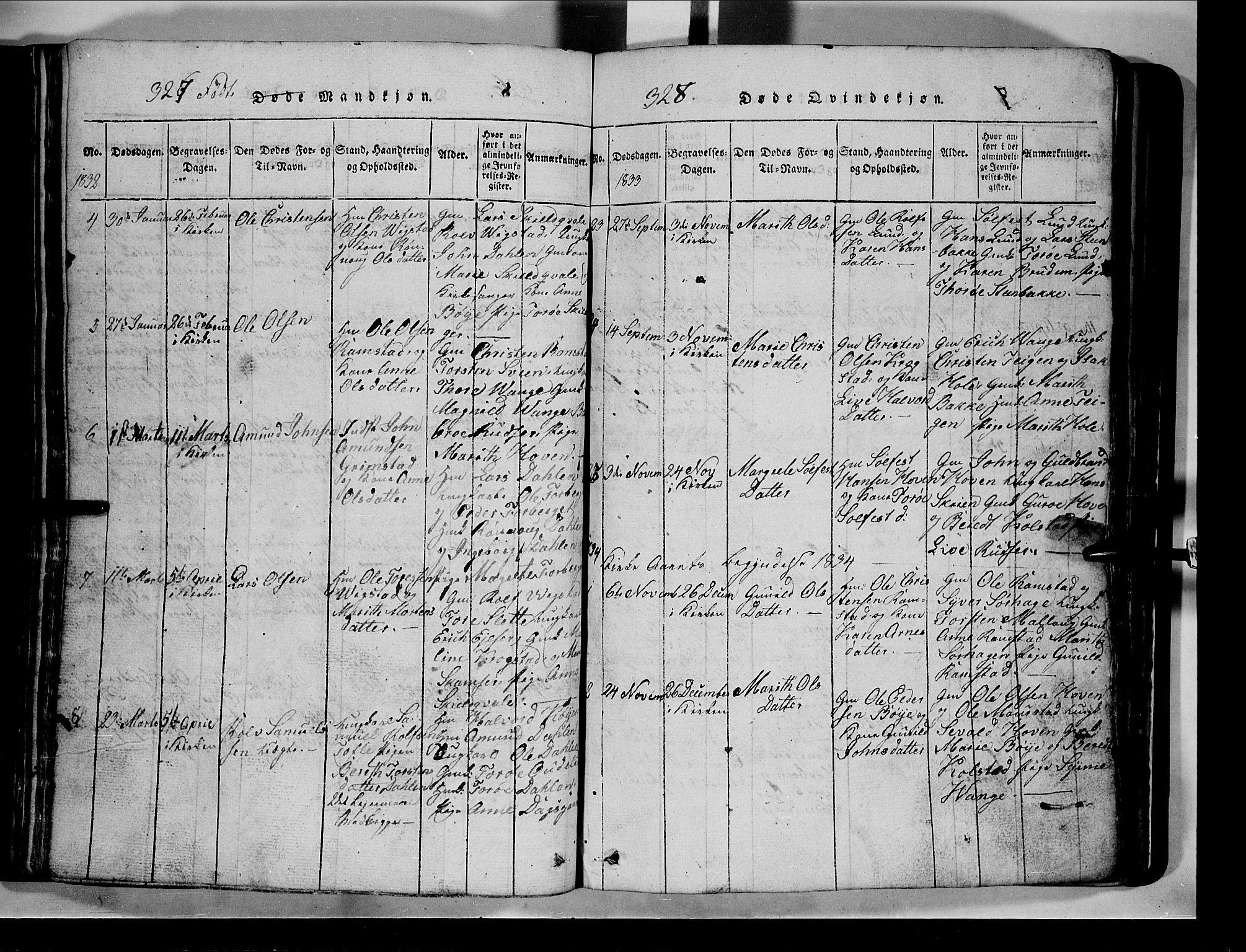 SAH, Lom prestekontor, L/L0003: Klokkerbok nr. 3, 1815-1844, s. 327-328