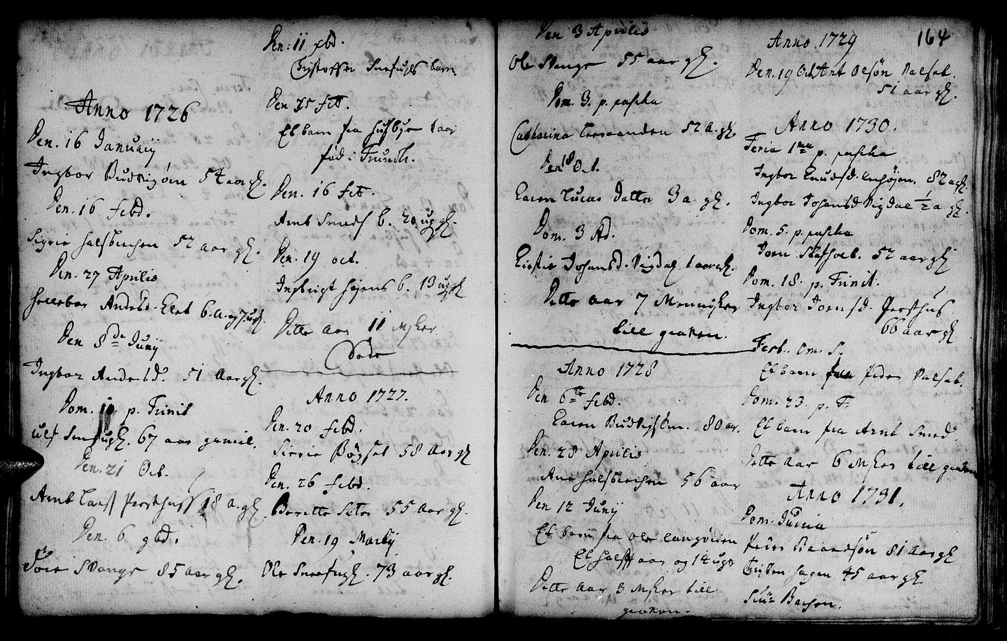 SAT, Ministerialprotokoller, klokkerbøker og fødselsregistre - Sør-Trøndelag, 666/L0783: Ministerialbok nr. 666A01, 1702-1753, s. 164