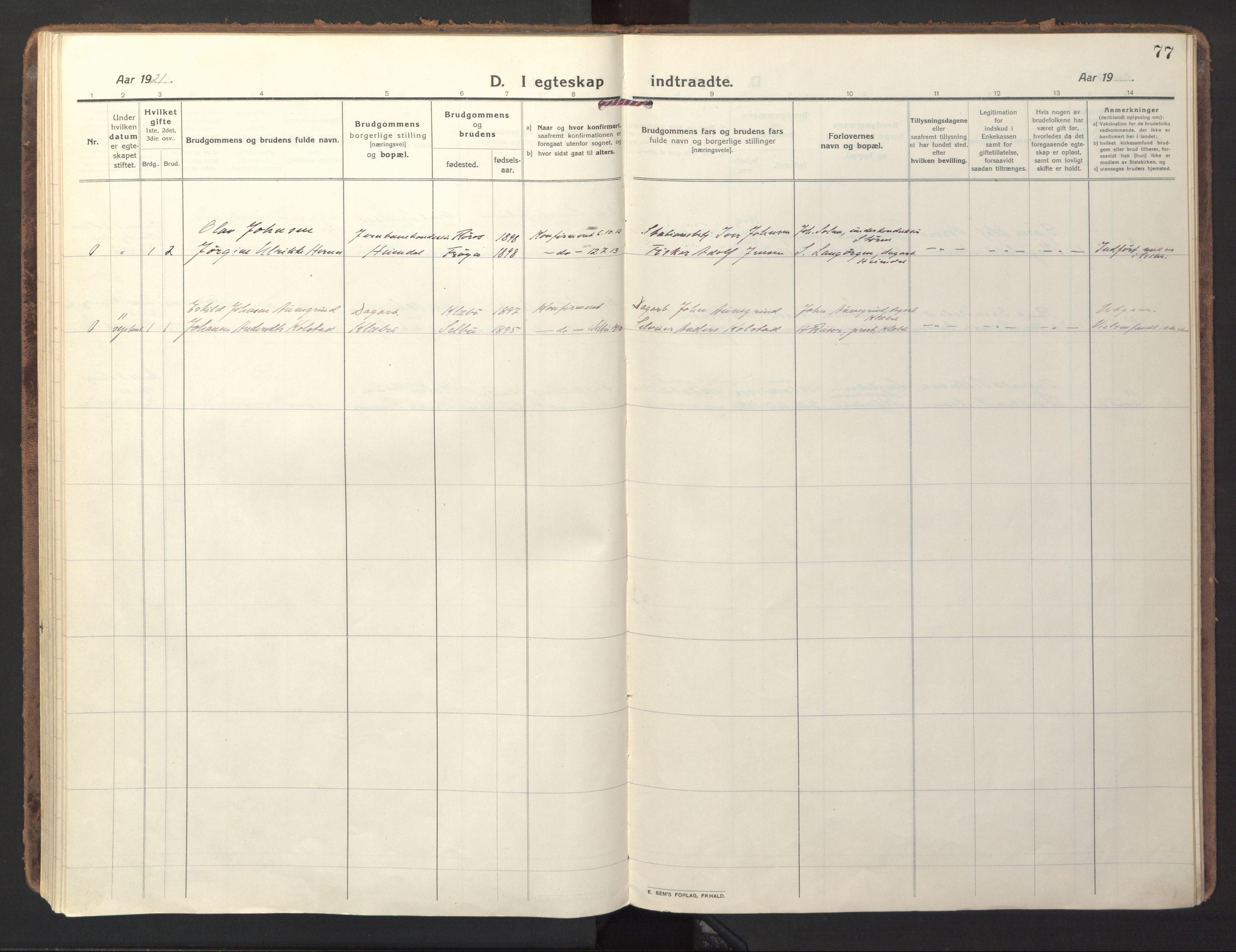 SAT, Ministerialprotokoller, klokkerbøker og fødselsregistre - Sør-Trøndelag, 618/L0449: Ministerialbok nr. 618A12, 1917-1924, s. 77
