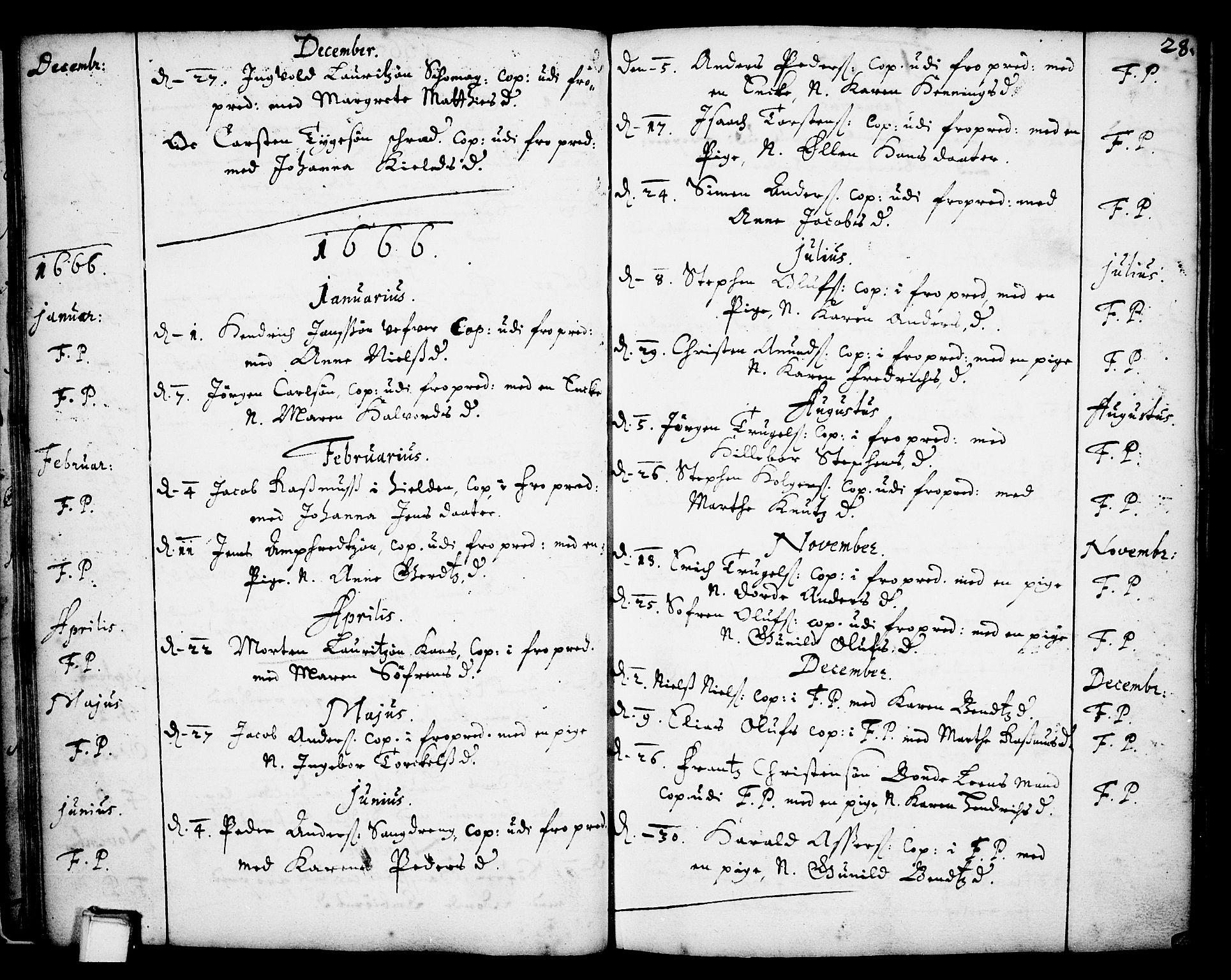 SAKO, Skien kirkebøker, F/Fa/L0001: Ministerialbok nr. 1, 1659-1679, s. 28