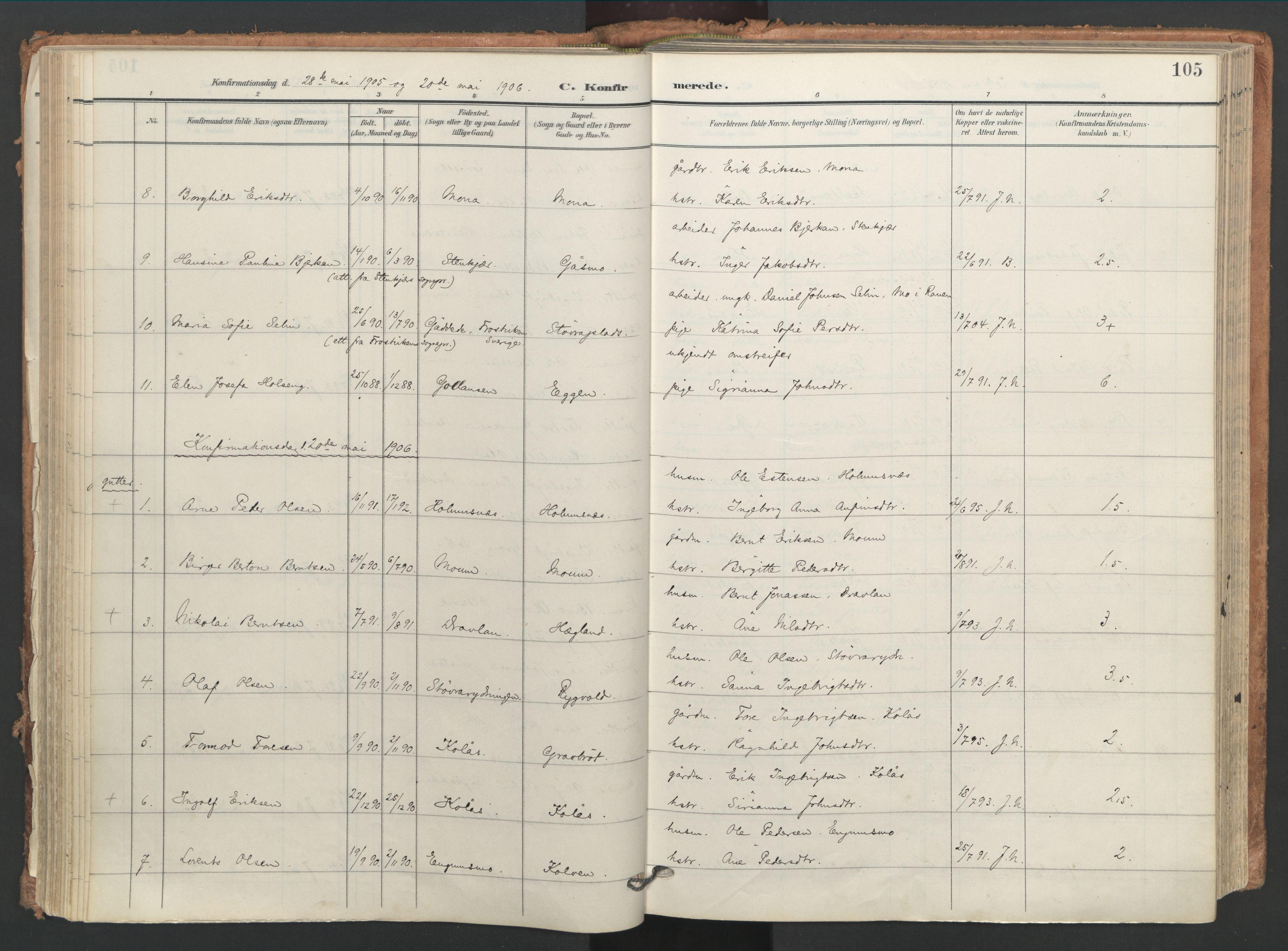 SAT, Ministerialprotokoller, klokkerbøker og fødselsregistre - Nord-Trøndelag, 749/L0477: Ministerialbok nr. 749A11, 1902-1927, s. 105