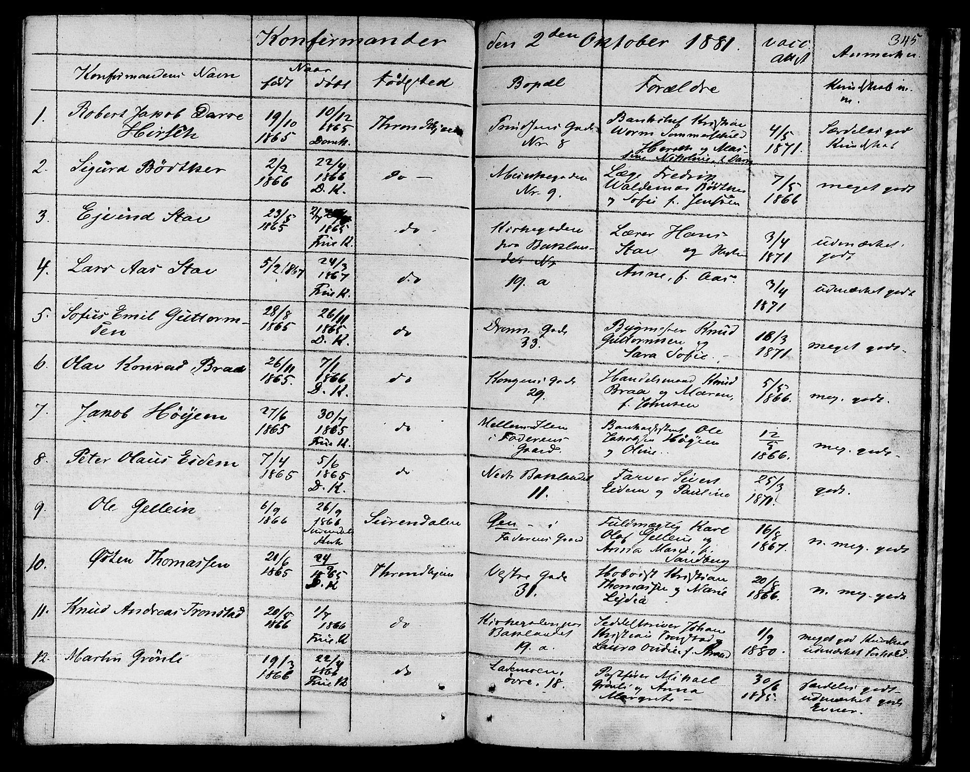 SAT, Ministerialprotokoller, klokkerbøker og fødselsregistre - Sør-Trøndelag, 601/L0070: Residerende kapellans bok nr. 601B03, 1821-1881, s. 345