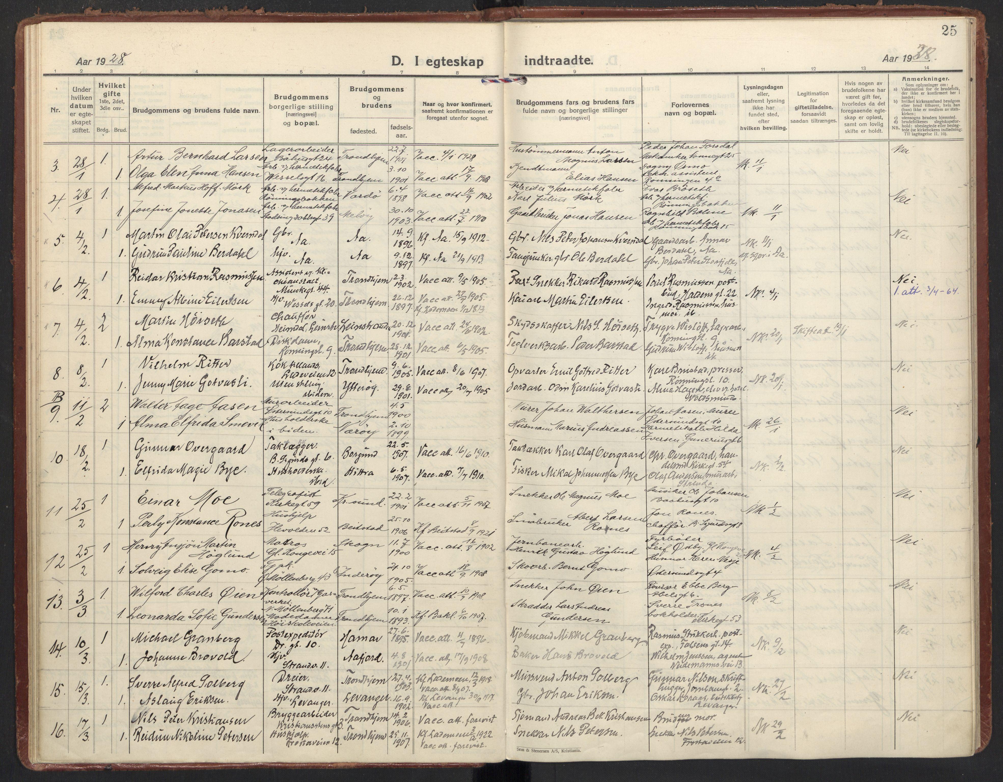 SAT, Ministerialprotokoller, klokkerbøker og fødselsregistre - Sør-Trøndelag, 605/L0249: Ministerialbok nr. 605A11, 1925-1936, s. 25