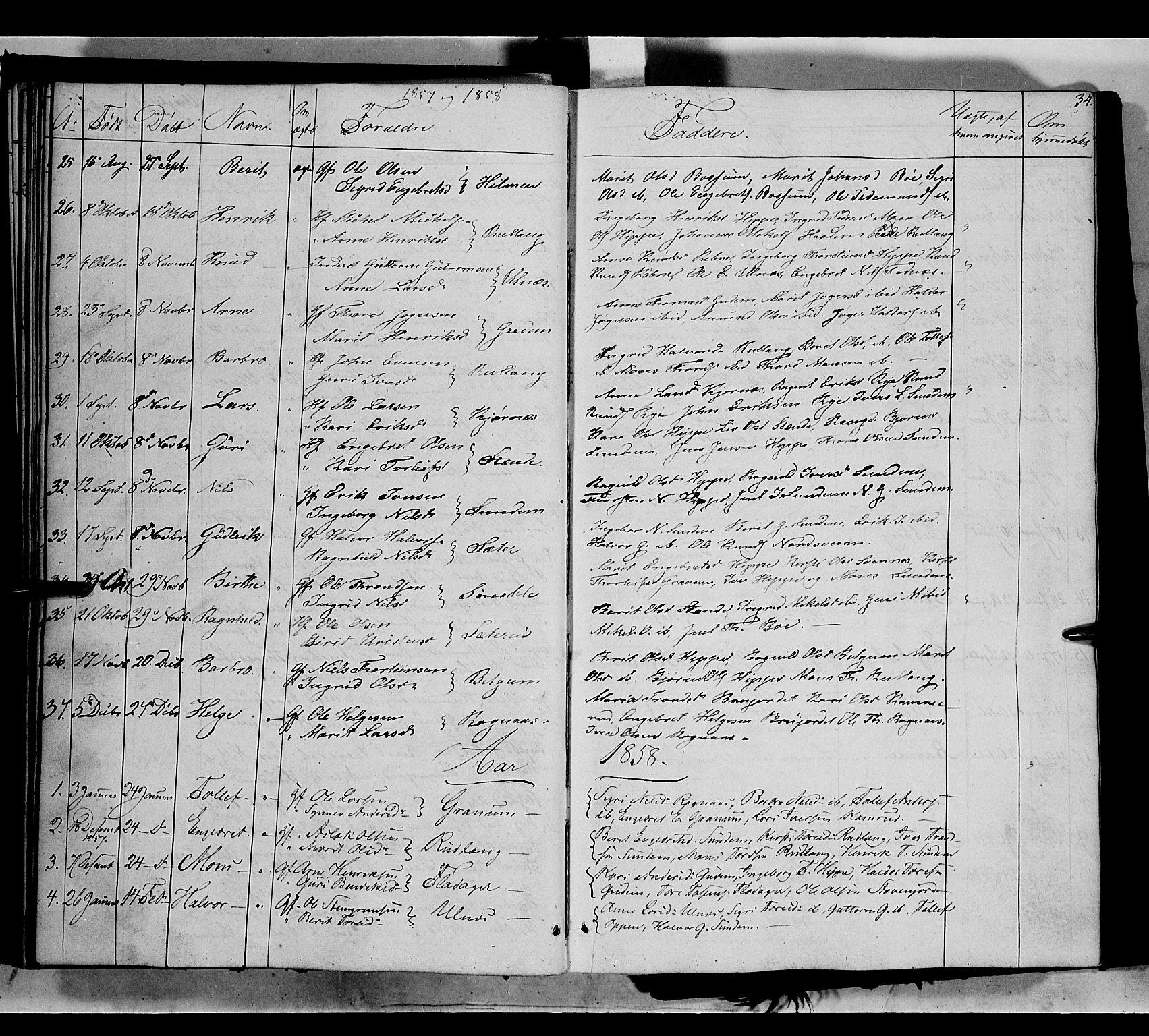 SAH, Nord-Aurdal prestekontor, Ministerialbok nr. 6, 1842-1863, s. 34