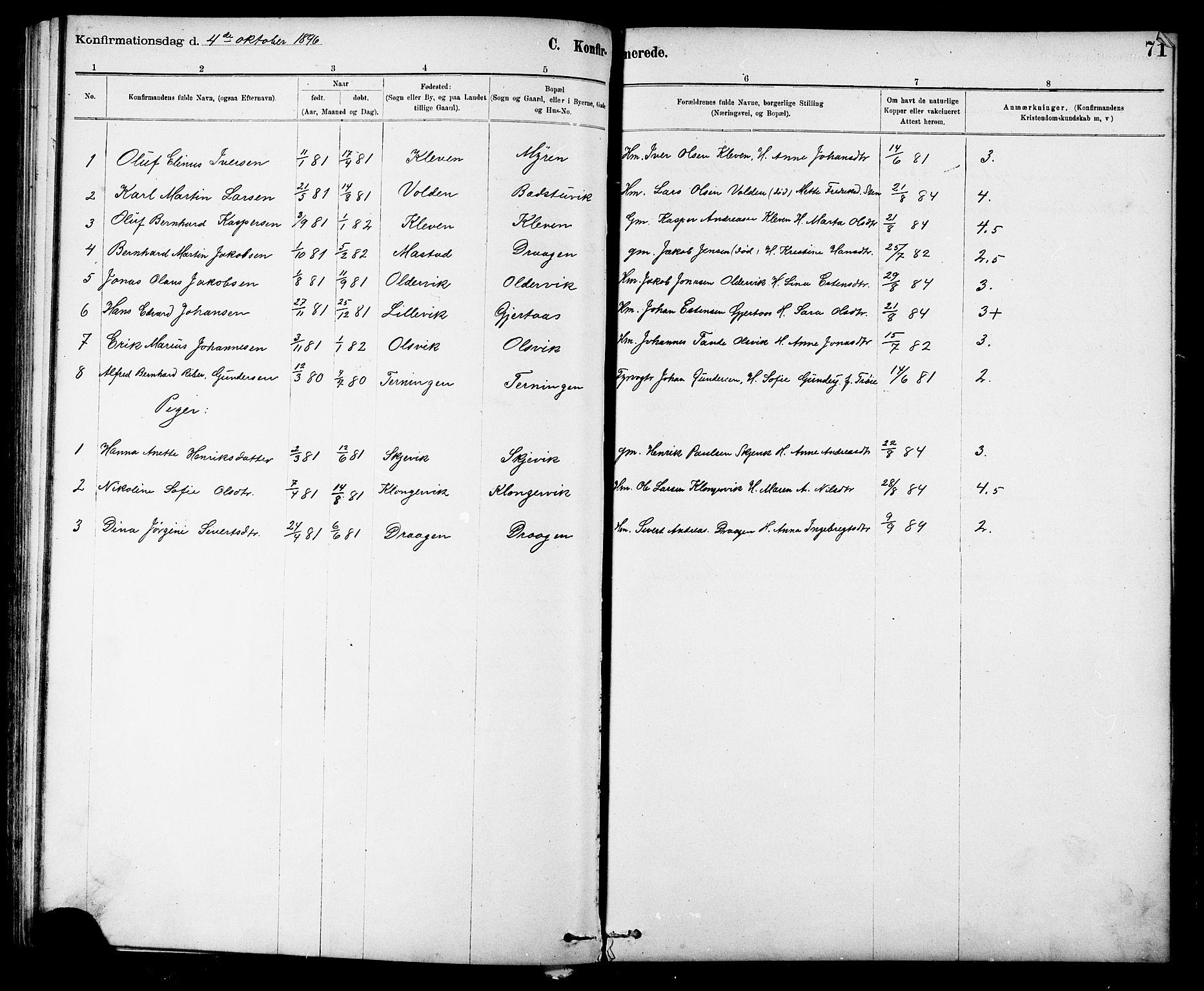 SAT, Ministerialprotokoller, klokkerbøker og fødselsregistre - Sør-Trøndelag, 639/L0573: Klokkerbok nr. 639C01, 1890-1905, s. 71