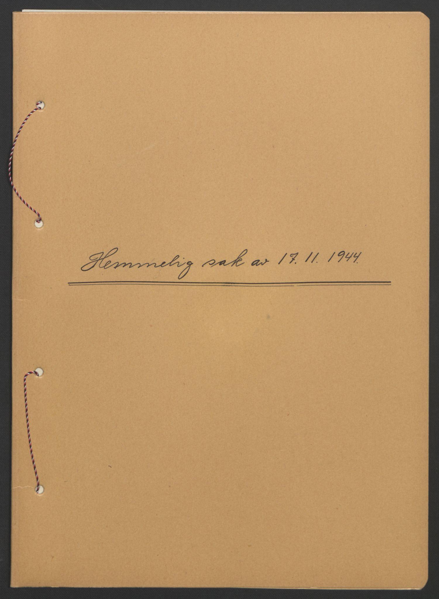 RA, NS-administrasjonen 1940-1945 (Statsrådsekretariatet, de kommisariske statsråder mm), D/Db/L0111: Saker fra krigsårene, 1940-1945, s. upaginert