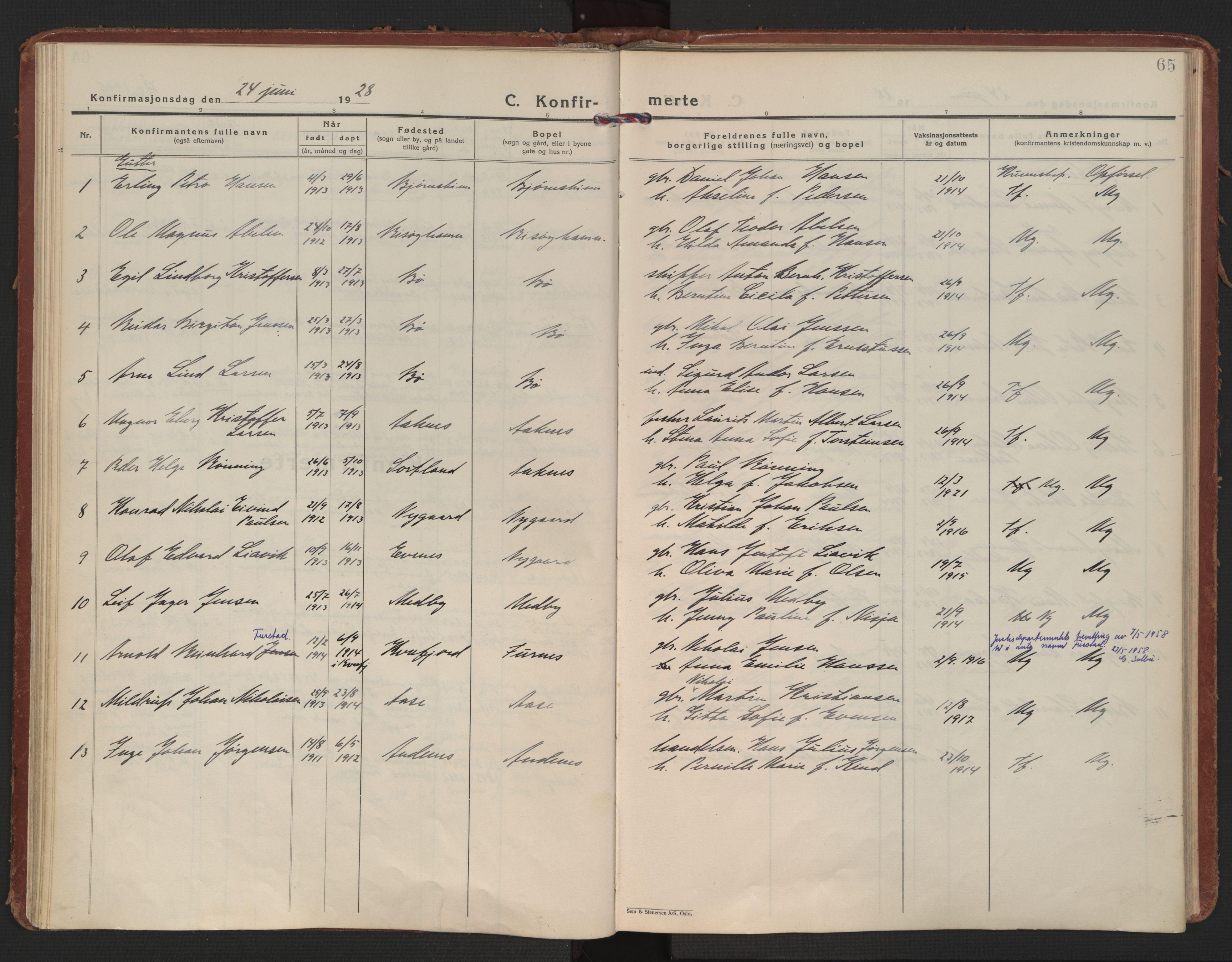 SAT, Ministerialprotokoller, klokkerbøker og fødselsregistre - Nordland, 898/L1424: Ministerialbok nr. 898A04, 1928-1946, s. 65