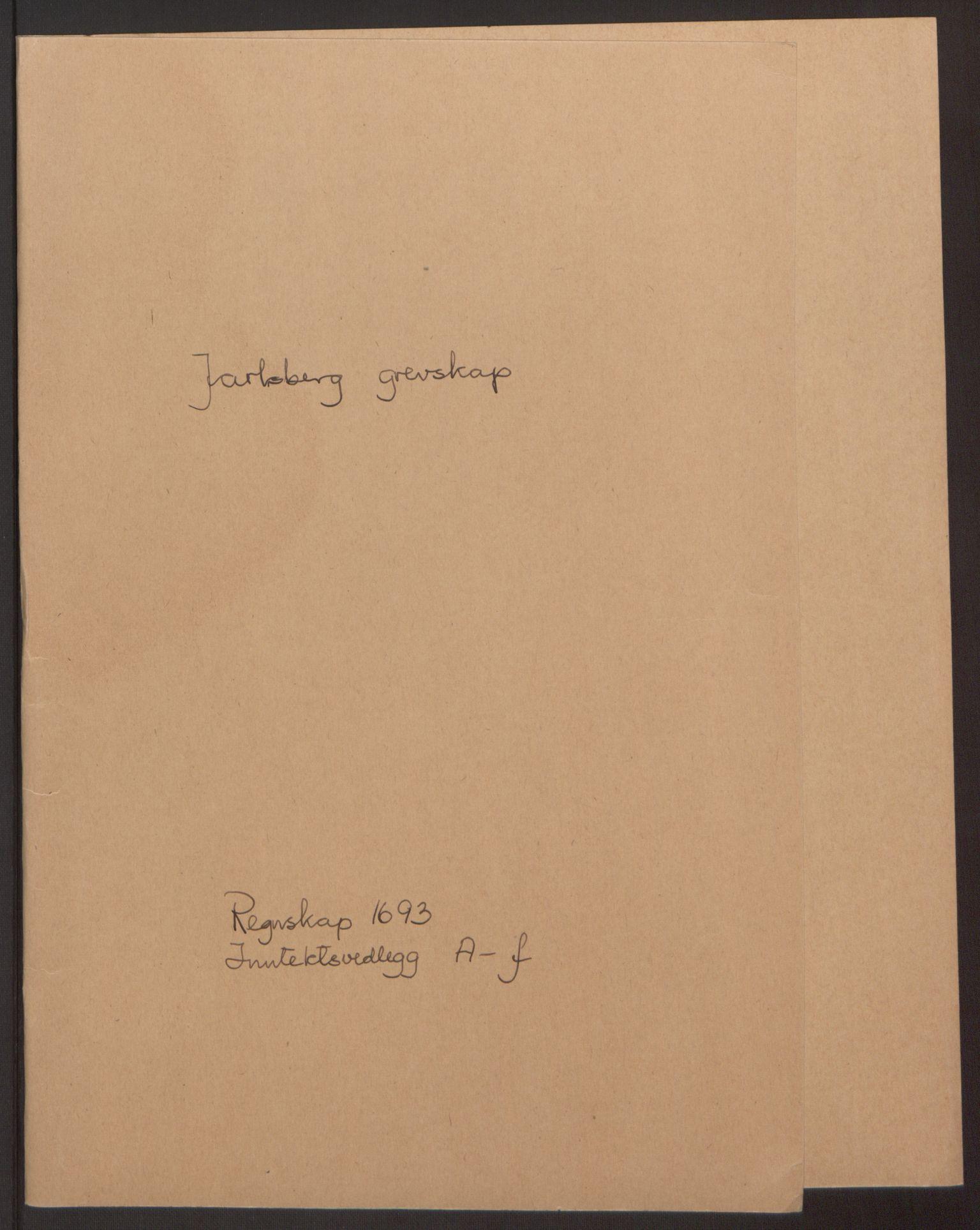 RA, Rentekammeret inntil 1814, Reviderte regnskaper, Fogderegnskap, R32/L1866: Fogderegnskap Jarlsberg grevskap, 1693, s. 2