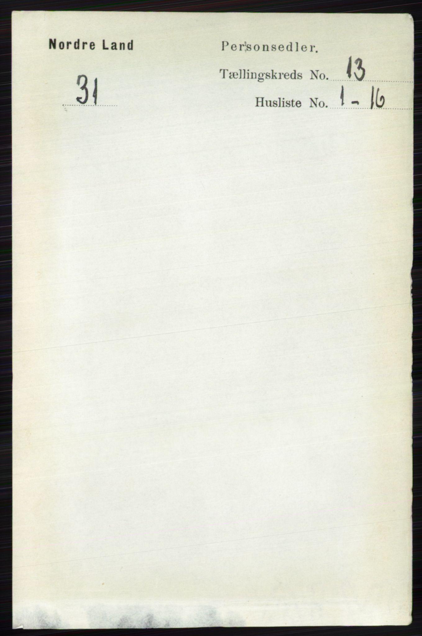 RA, Folketelling 1891 for 0538 Nordre Land herred, 1891, s. 3496