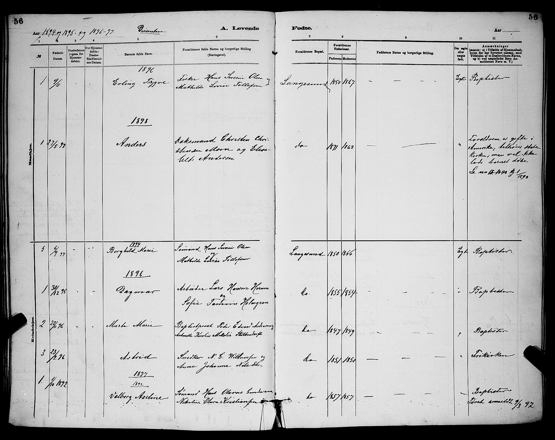 SAKO, Langesund kirkebøker, G/Ga/L0005: Klokkerbok nr. 5, 1884-1898, s. 56