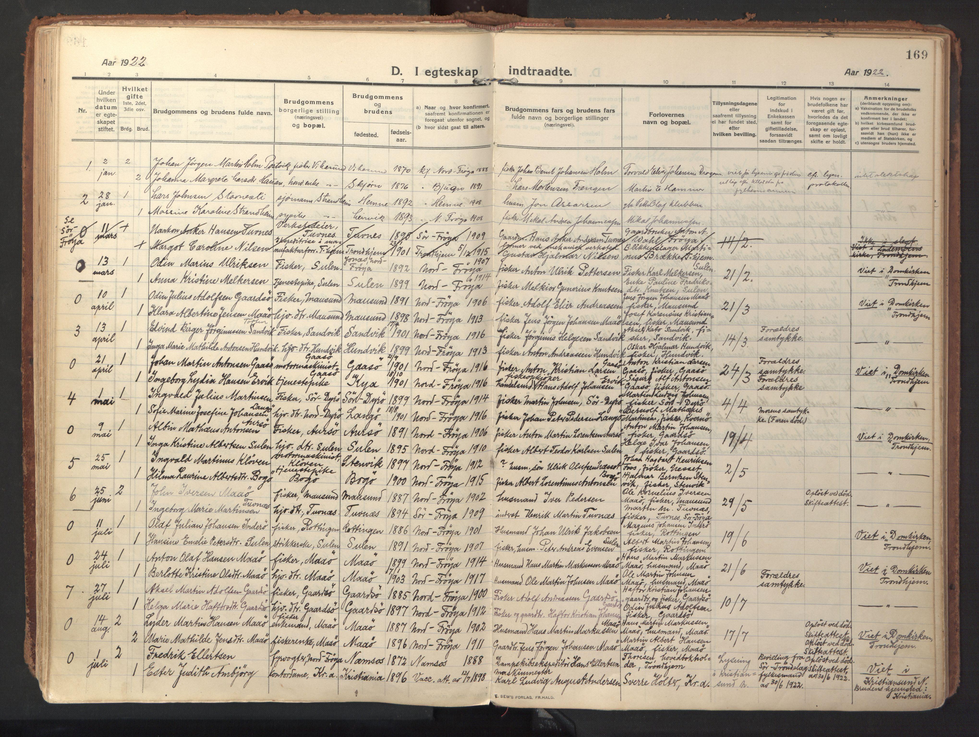 SAT, Ministerialprotokoller, klokkerbøker og fødselsregistre - Sør-Trøndelag, 640/L0581: Ministerialbok nr. 640A06, 1910-1924, s. 169