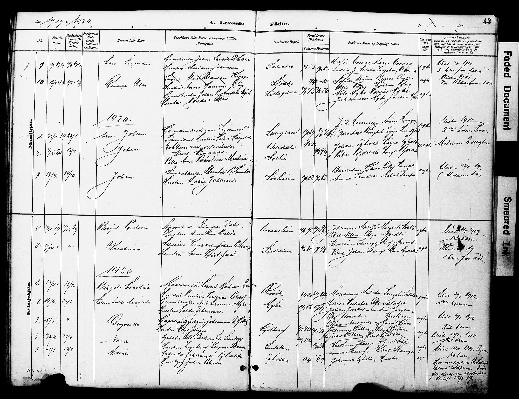 SAT, Ministerialprotokoller, klokkerbøker og fødselsregistre - Nord-Trøndelag, 722/L0226: Klokkerbok nr. 722C02, 1889-1927, s. 43