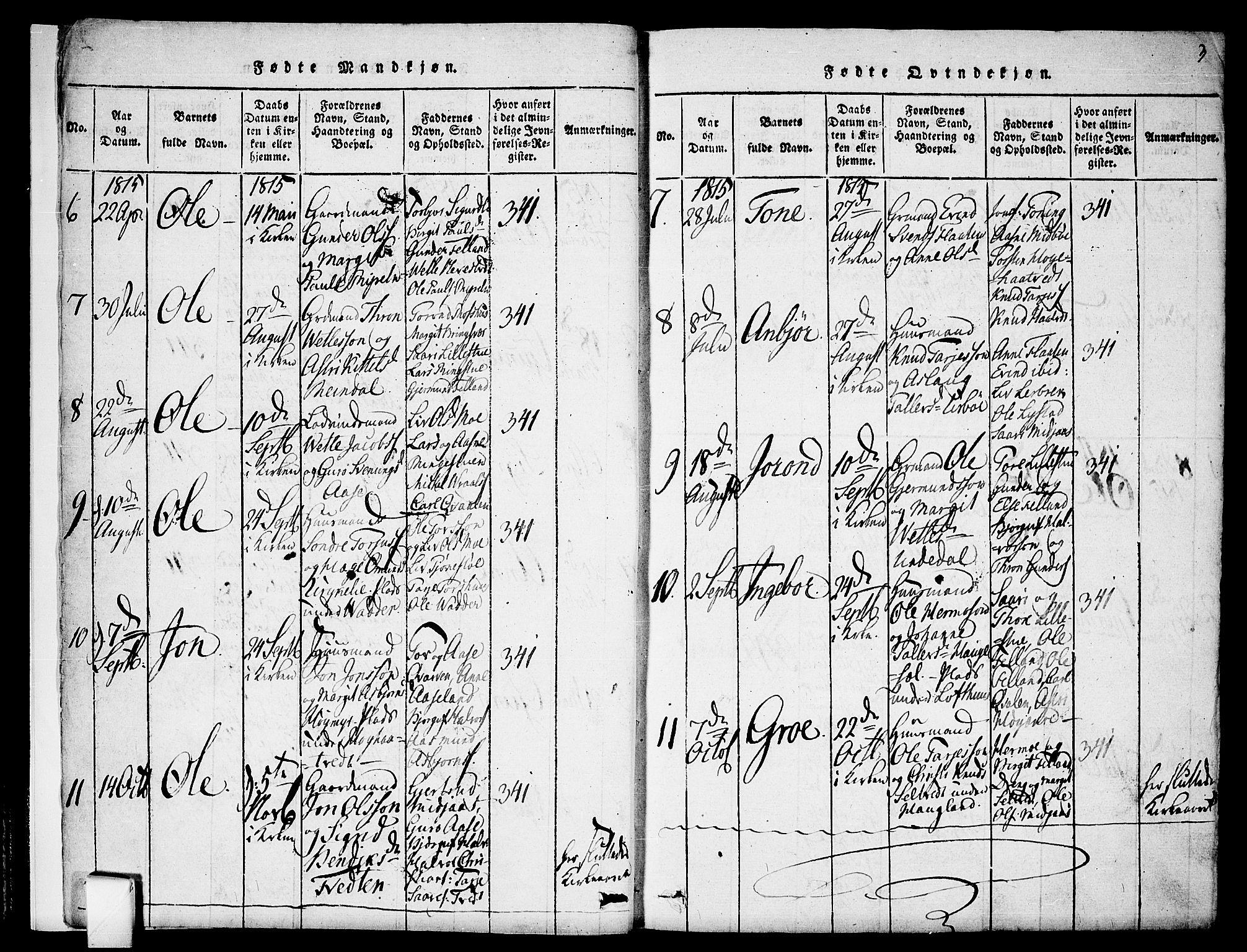 SAKO, Mo kirkebøker, F/Fa/L0004: Ministerialbok nr. I 4, 1814-1844, s. 3