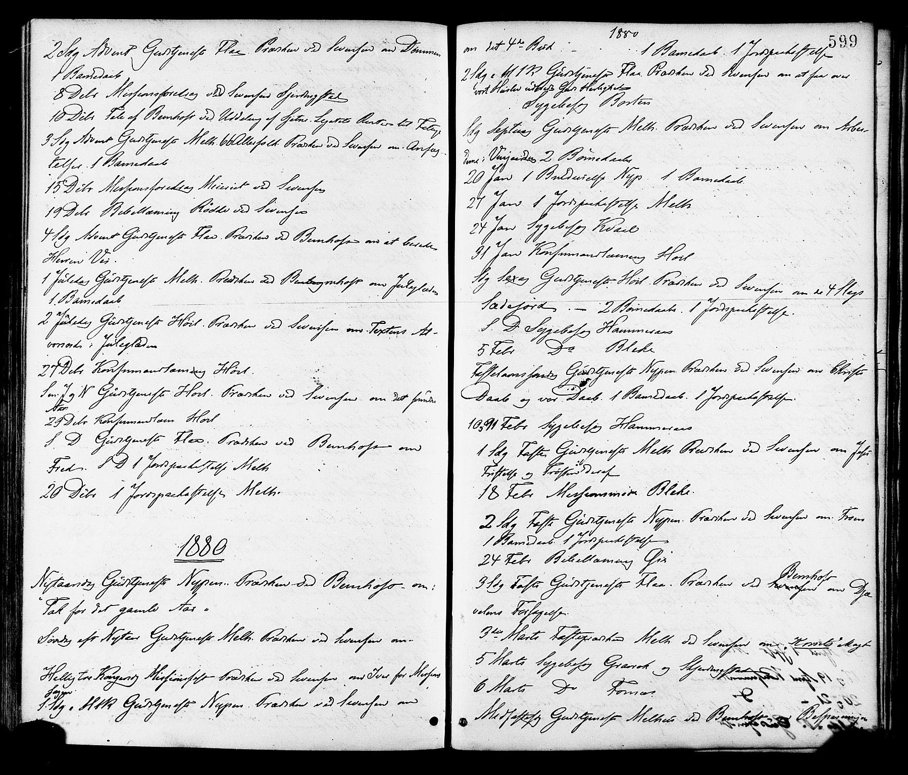 SAT, Ministerialprotokoller, klokkerbøker og fødselsregistre - Sør-Trøndelag, 691/L1079: Ministerialbok nr. 691A11, 1873-1886, s. 599