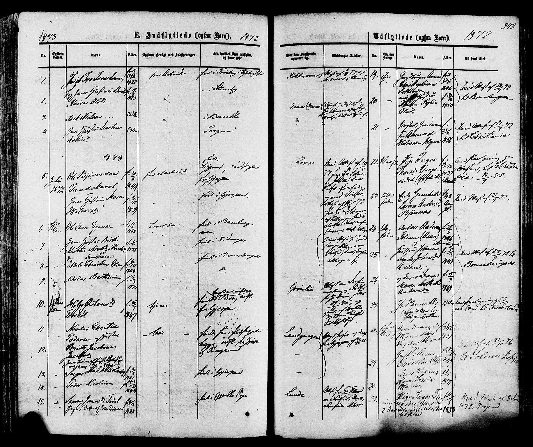 SAKO, Eidanger kirkebøker, F/Fa/L0010: Ministerialbok nr. 10, 1859-1874, s. 343