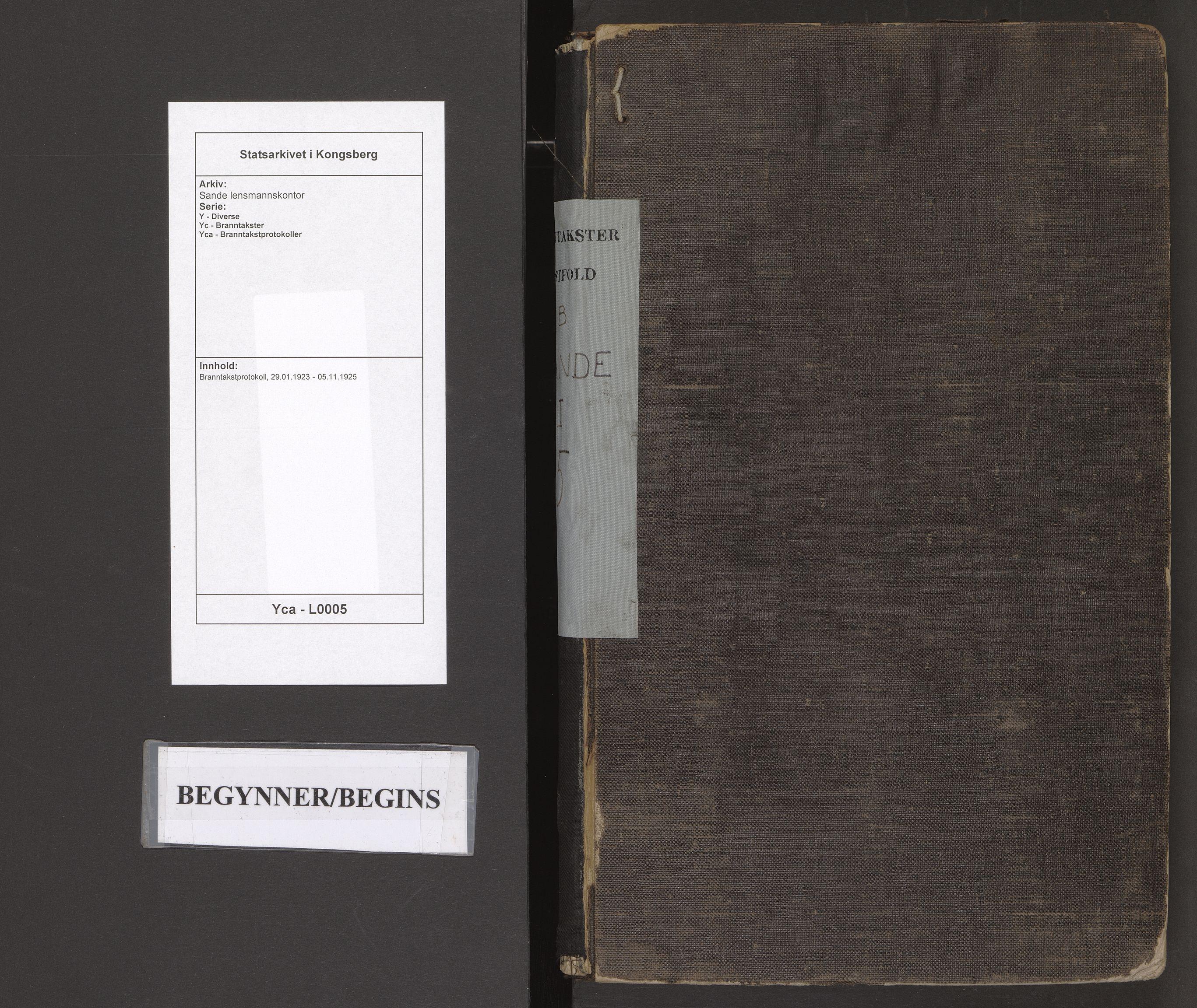 SAKO, Sande lensmannskontor, Y/Yc/Yca/L0005: Branntakstprotokoll, 1923-1925