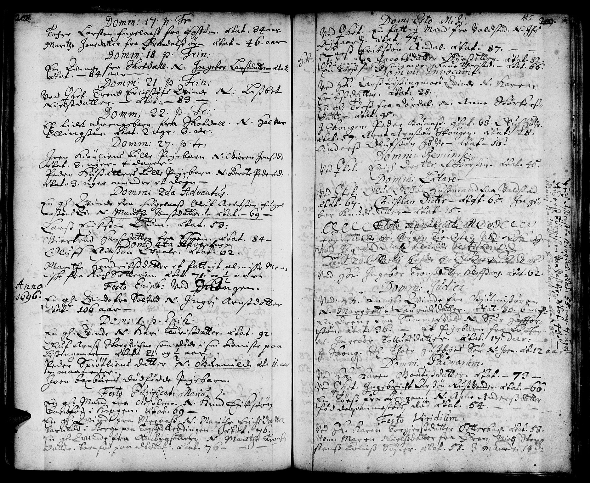 SAT, Ministerialprotokoller, klokkerbøker og fødselsregistre - Sør-Trøndelag, 668/L0801: Ministerialbok nr. 668A01, 1695-1716, s. 114-115