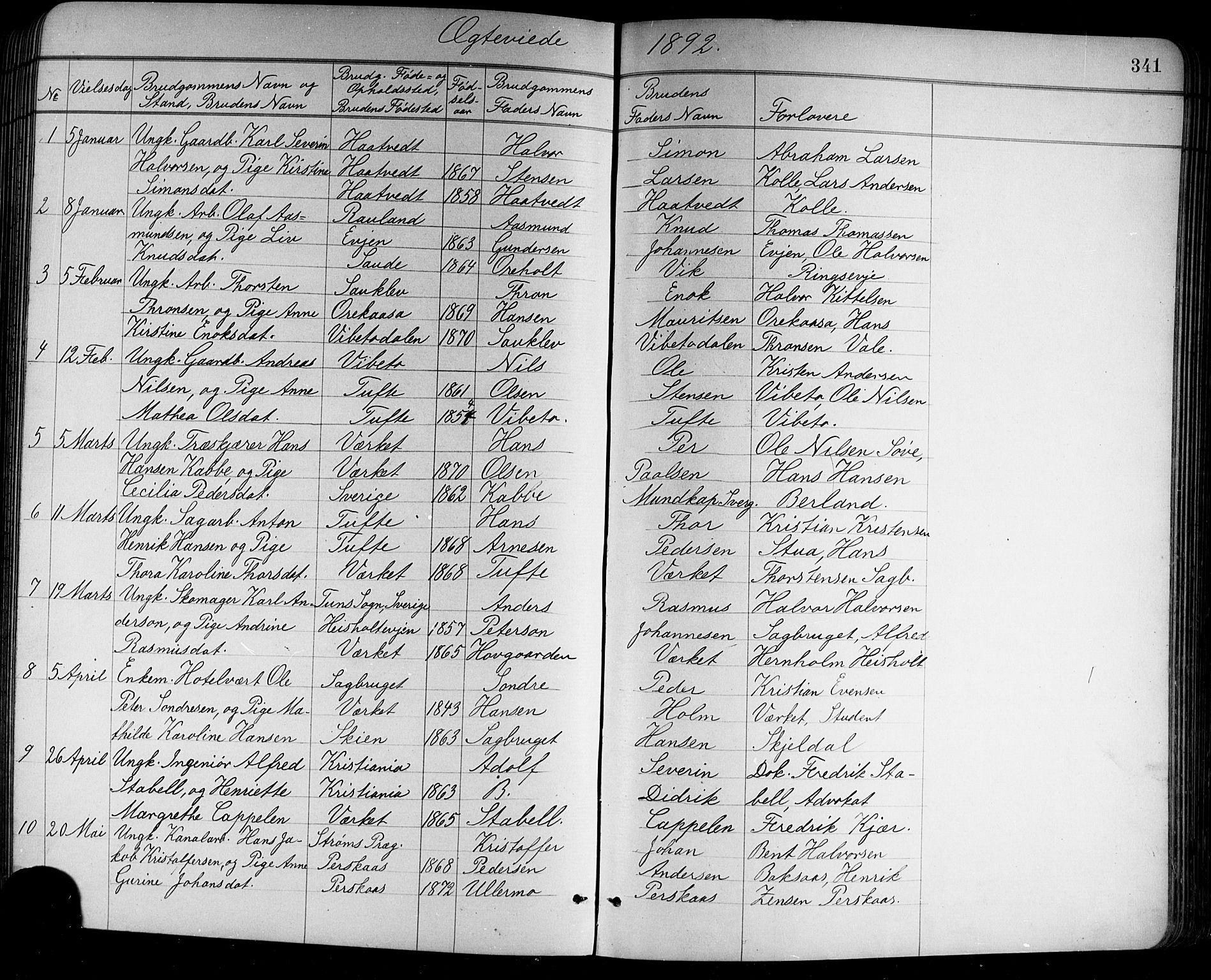 SAKO, Holla kirkebøker, G/Ga/L0005: Klokkerbok nr. I 5, 1891-1917, s. 341